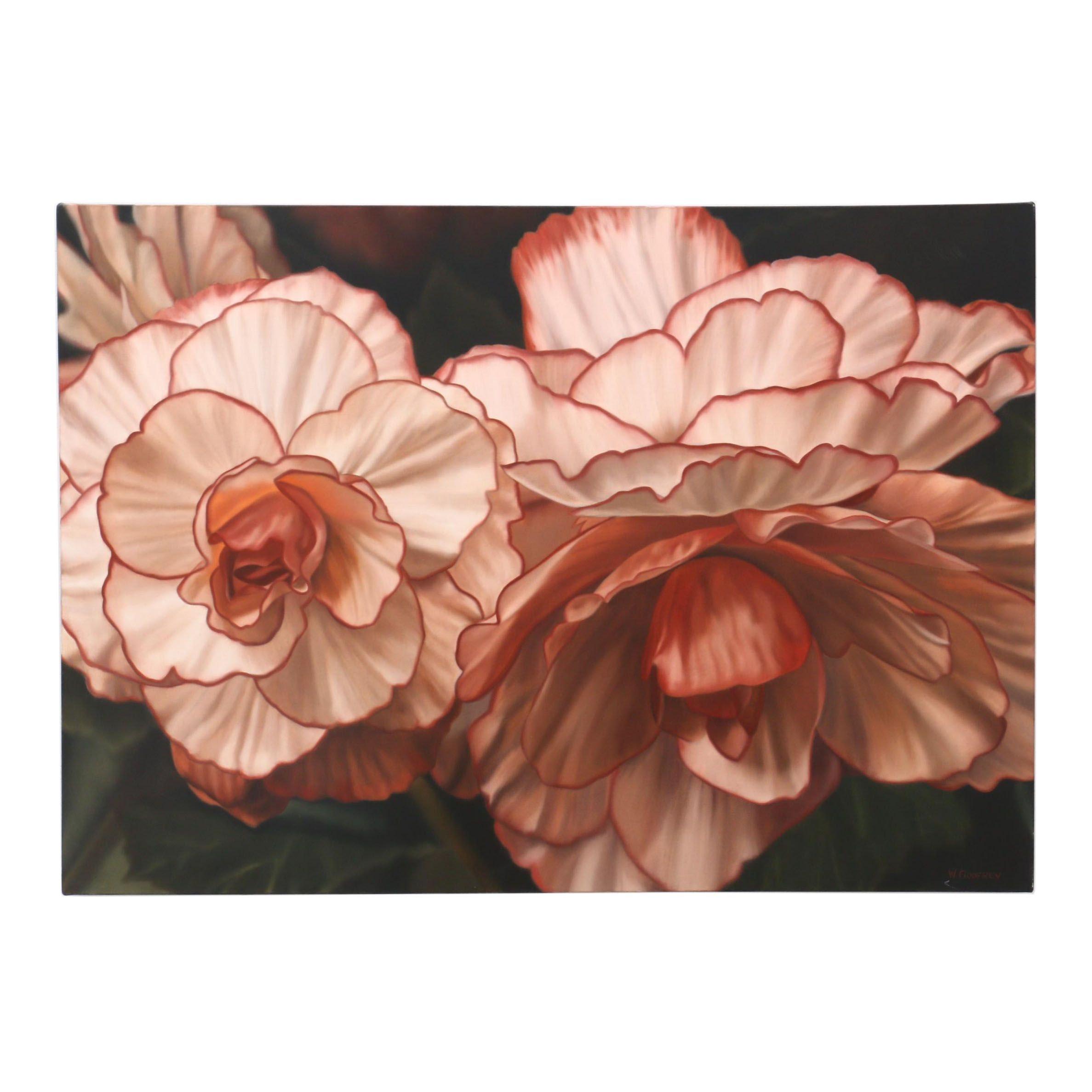 """Winifred Godfrey Photorealistic Oil Painting """"Picotee Begonia"""""""