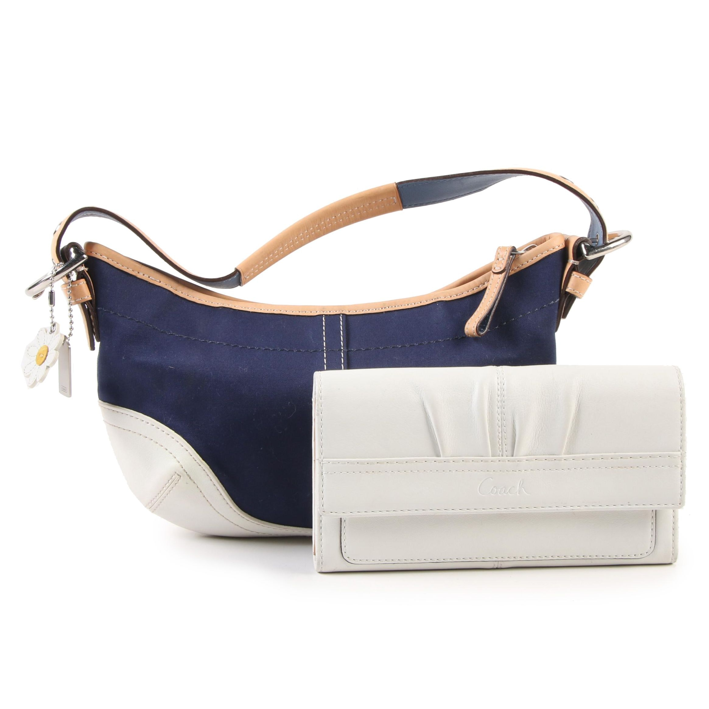 Coach Daisy Hobo Bag in Navy Blue Canvas and Leather with Soho Pleated Wallet