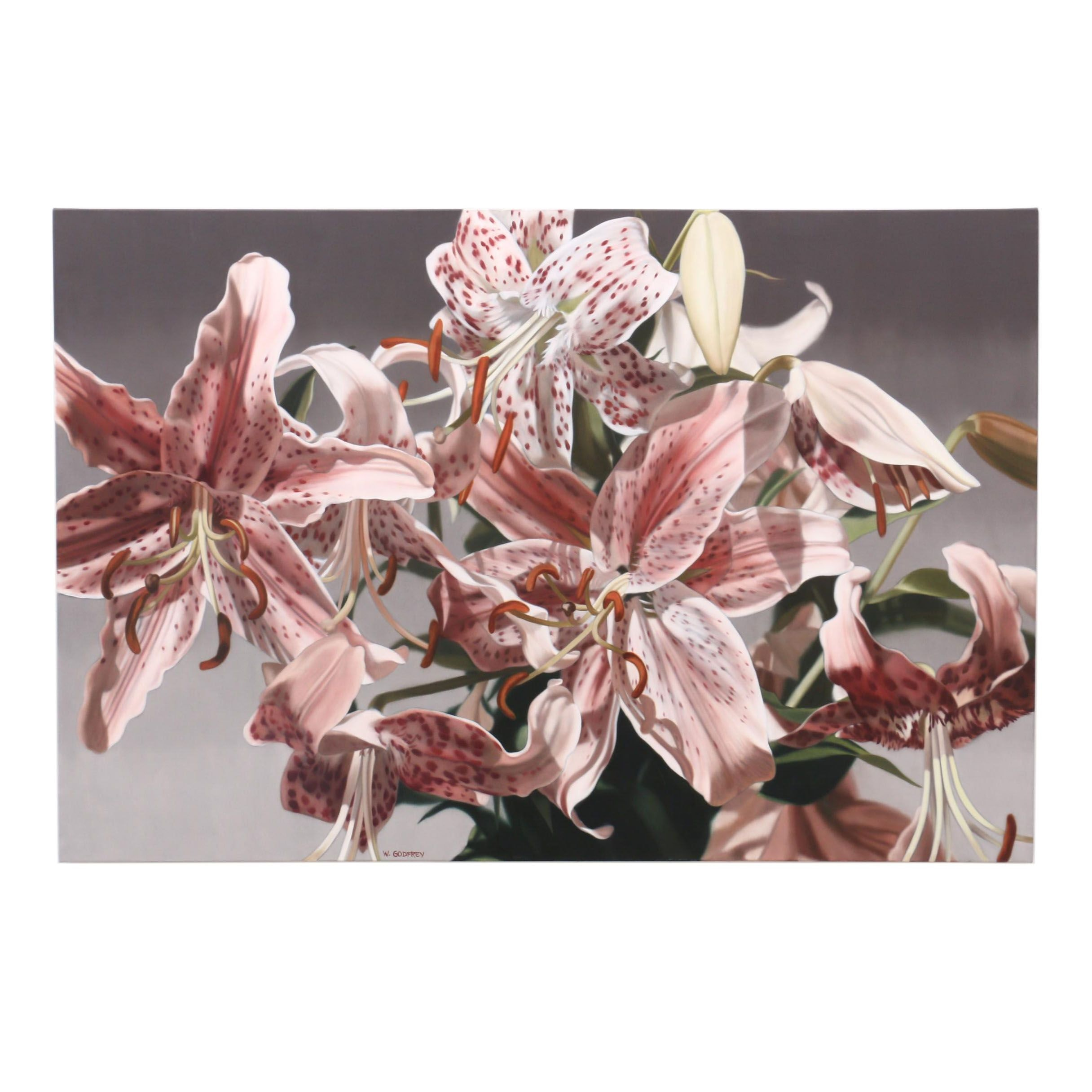 """Winifred Godfrey Photorealistic Oil Painting """"Rubrum Lilies"""""""