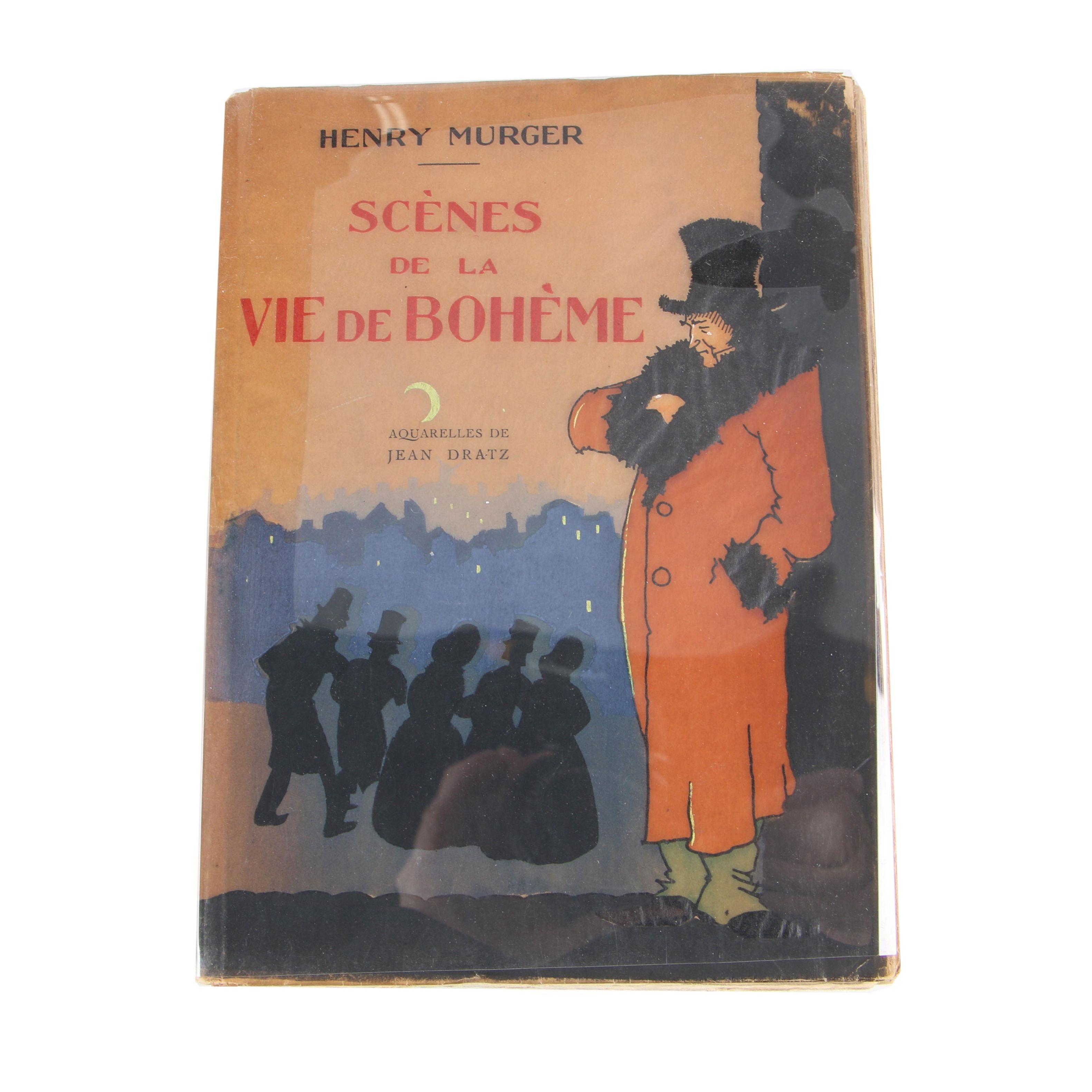 """Jean Dratz Illustrated """"Scènes de la Vie de Bohème"""" by Henry Murger, Circa 1930"""