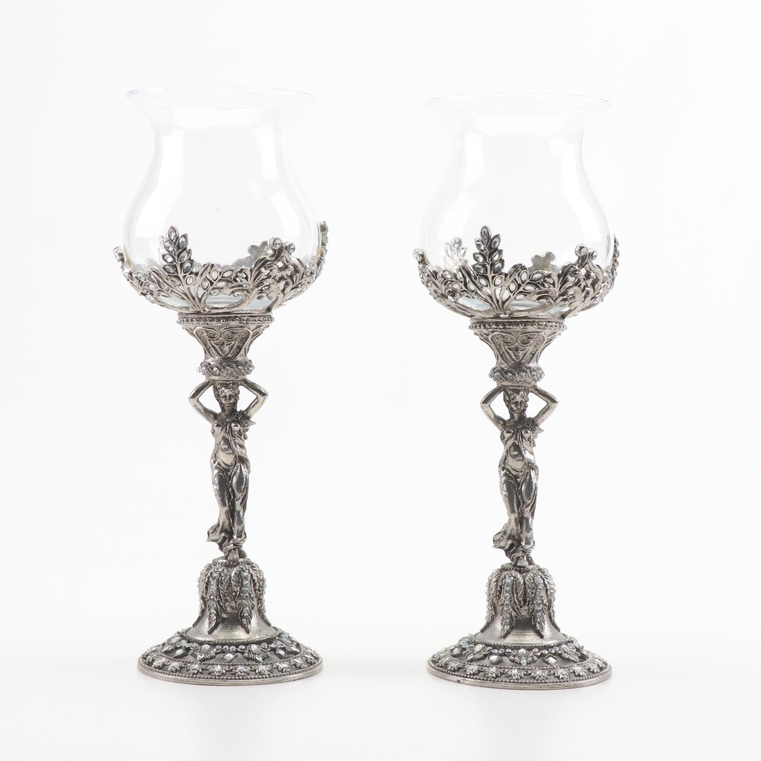 Cast Metal and Glass Figural Votive Candle Holders, Mid to Late 20th Century