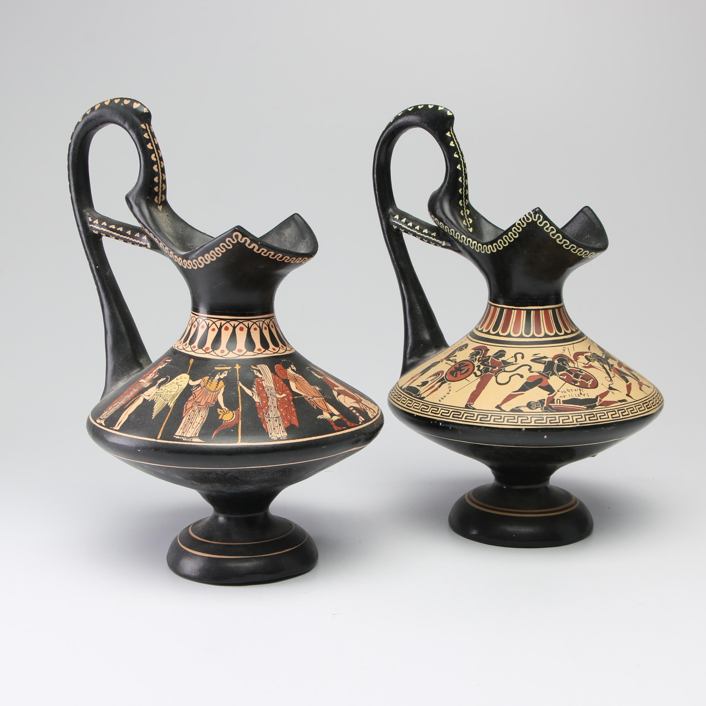 D. Vassilopoulos Greek Pottery Replica Ewers, 1960s
