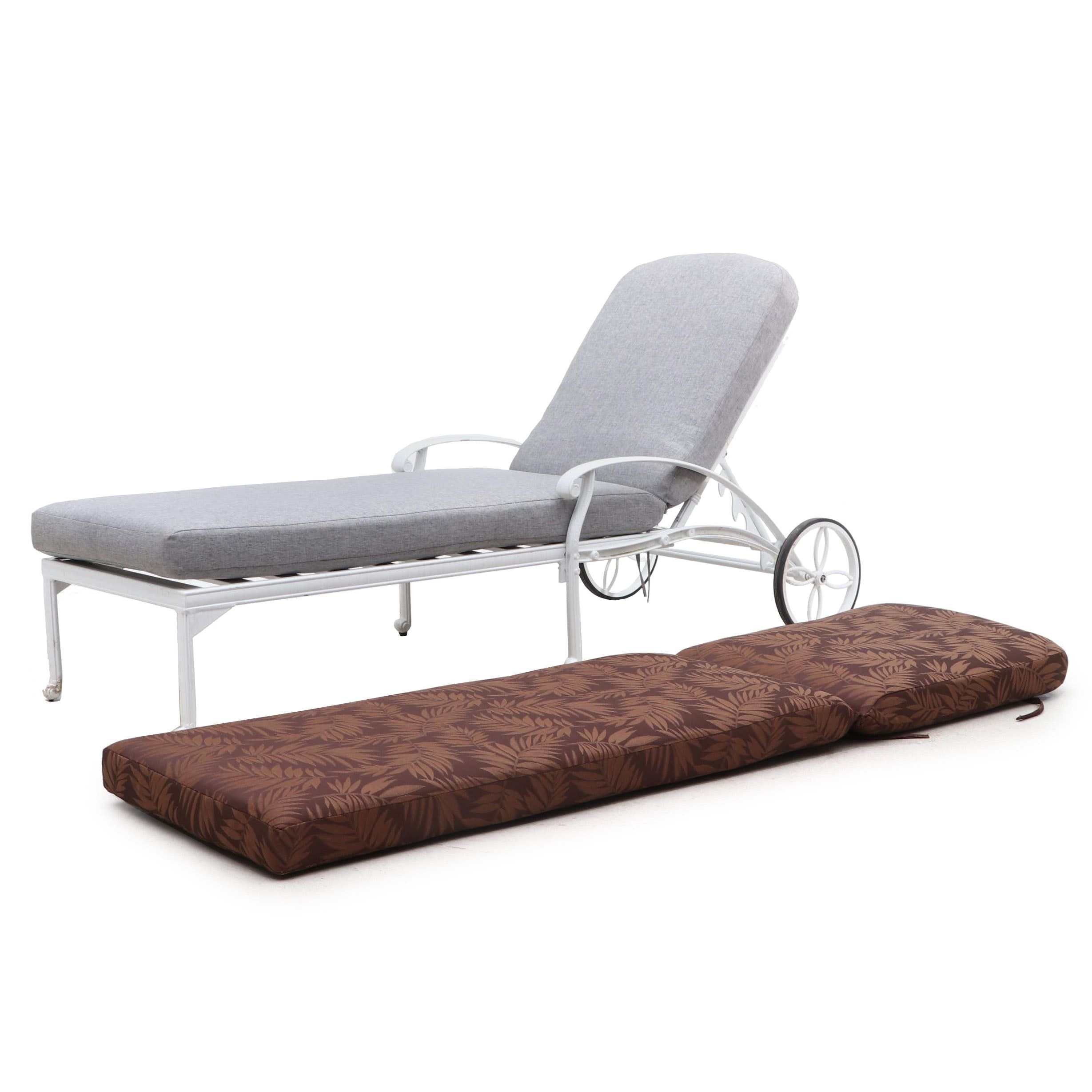 Cast Metal Adjustable Patio Chaise Lounge Chair with Cusions