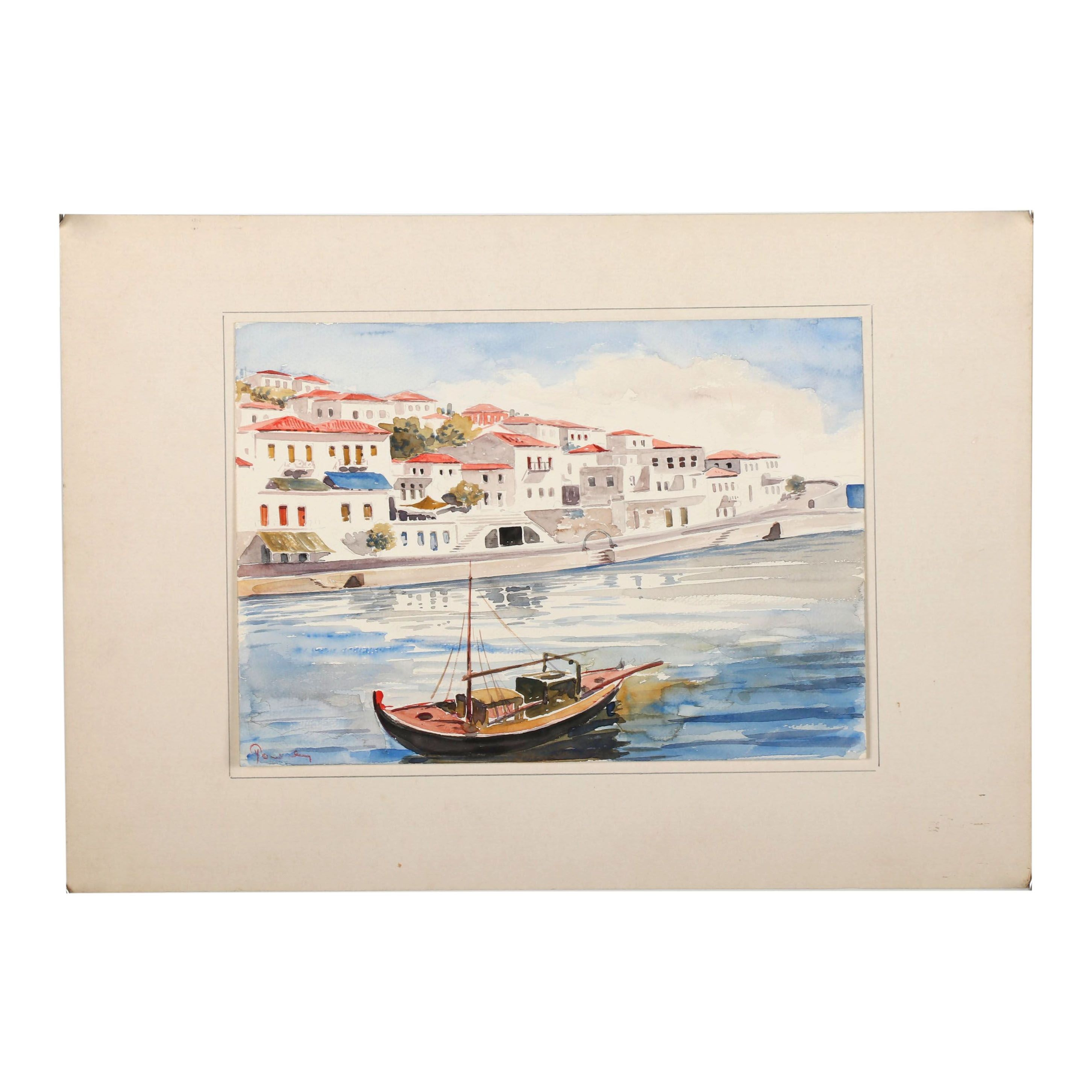 Late 20th Century Canal Scene Watercolor Painting