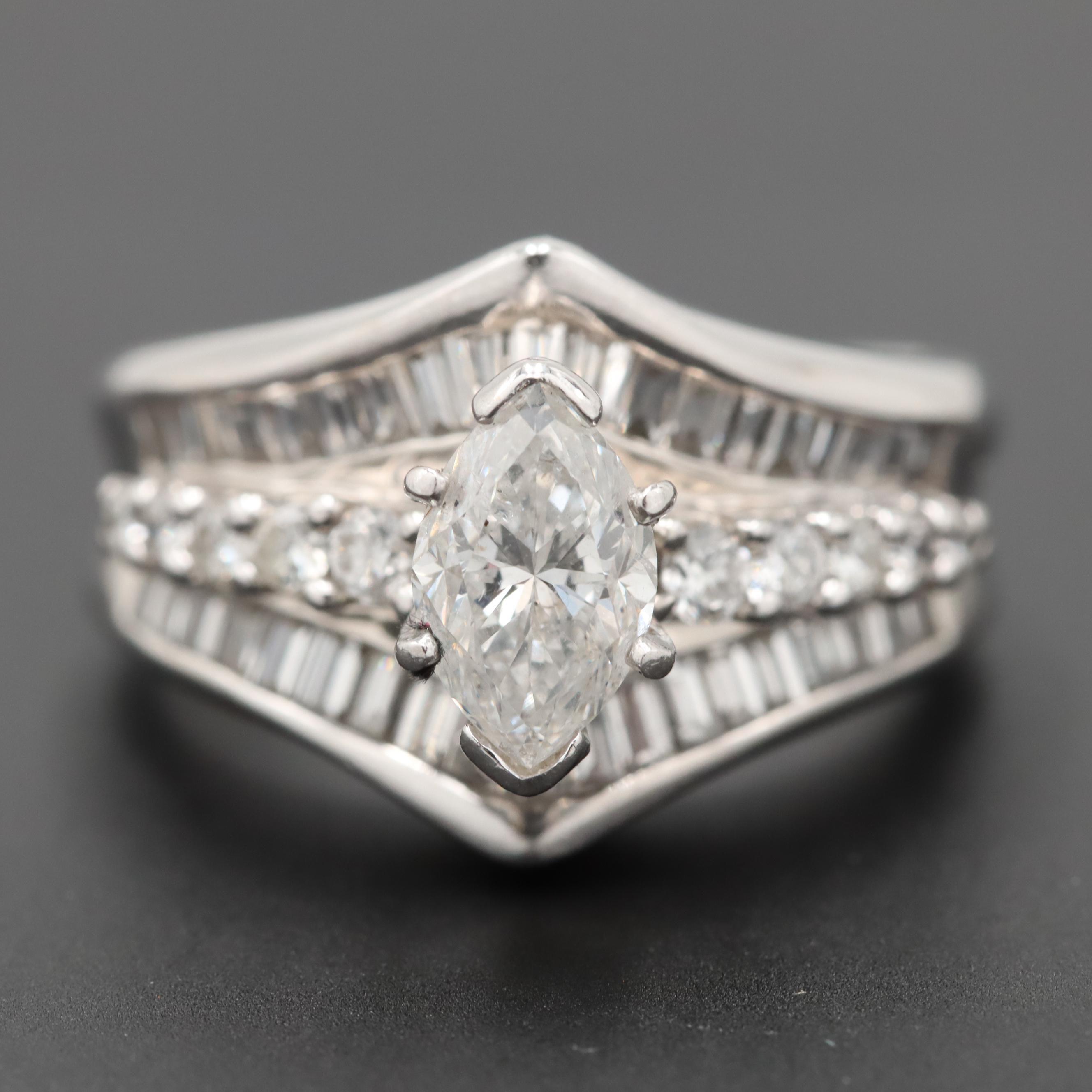 14K White Gold 1.99 CTW Diamond Ring