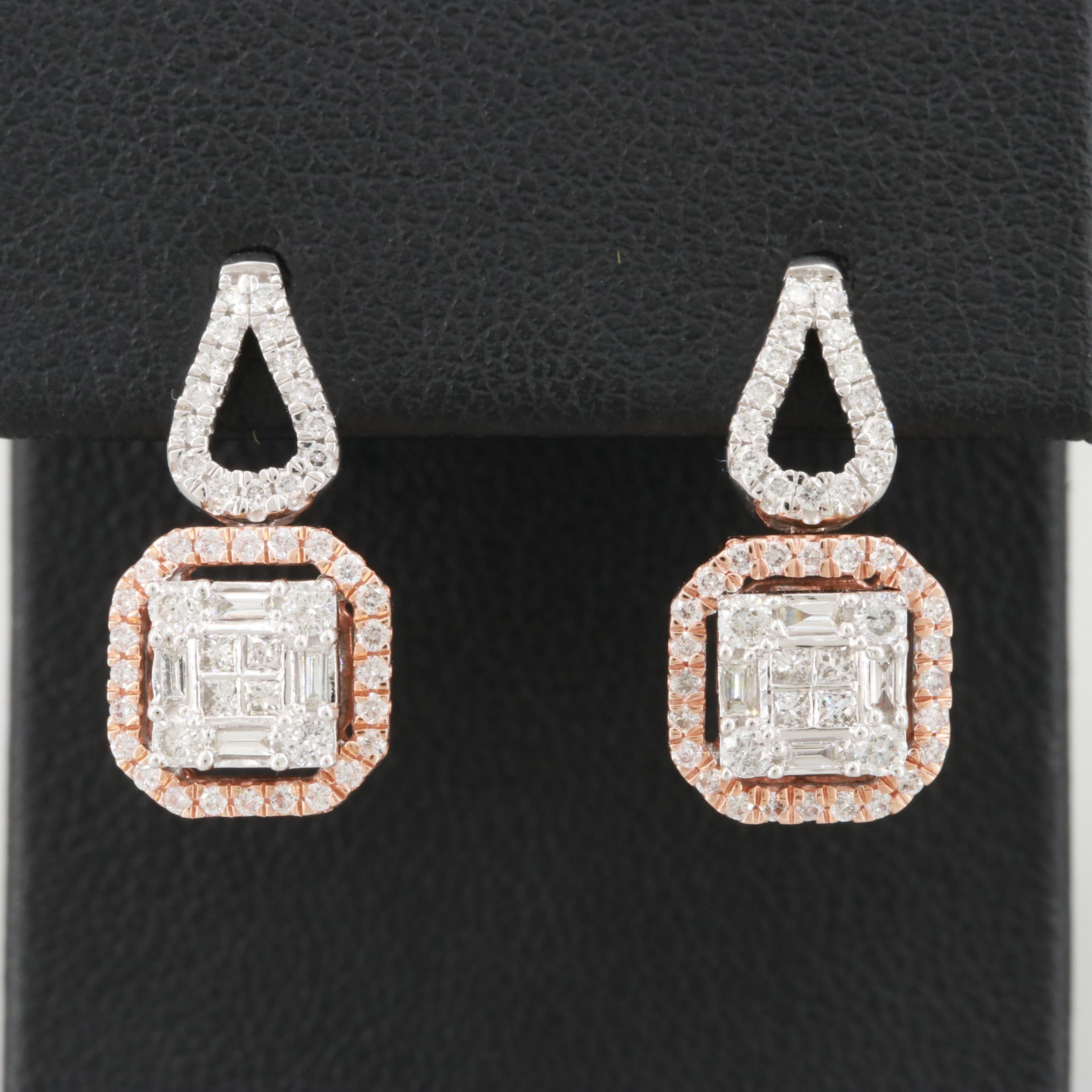 14K White and Rose Gold Diamond Drop Earrings