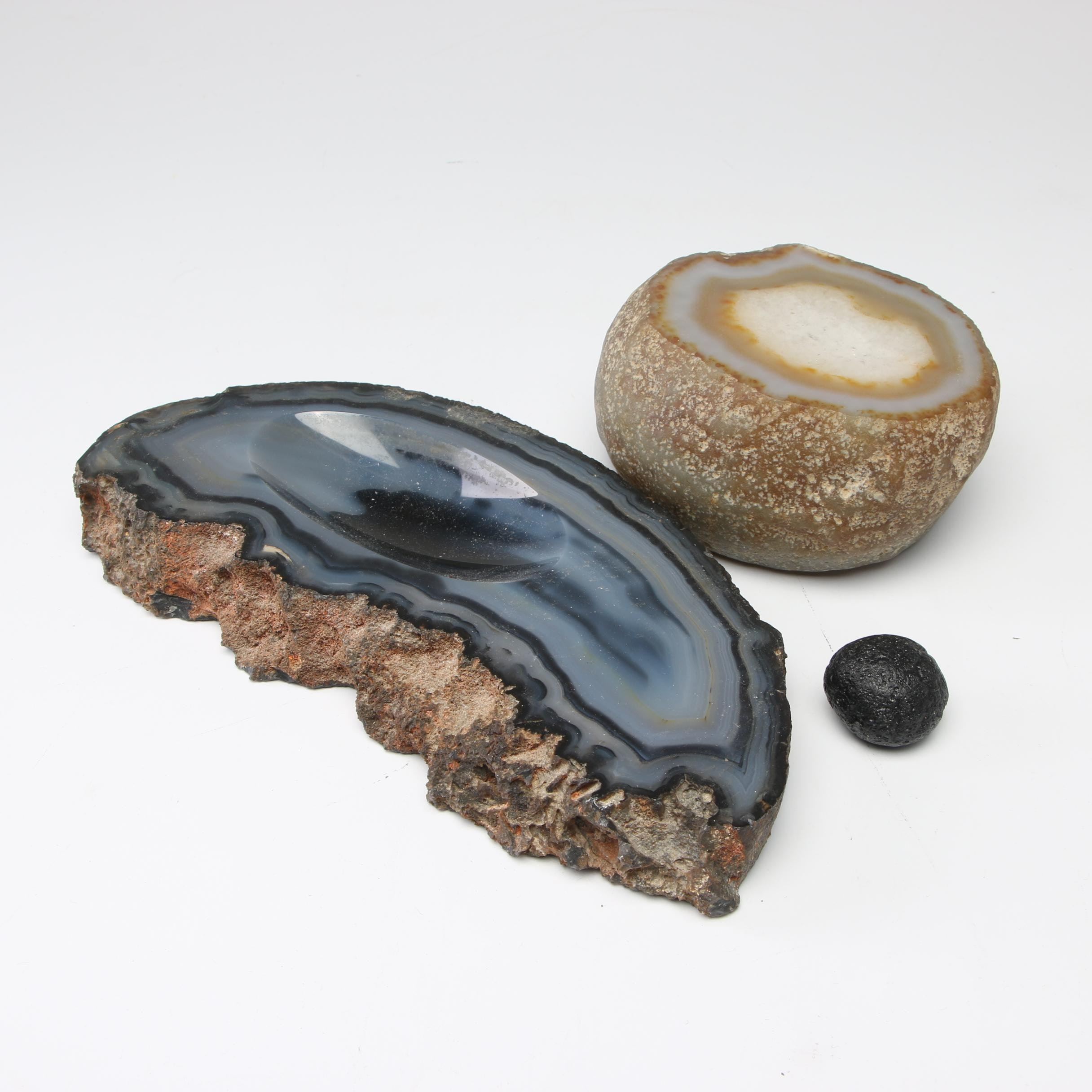 Tektite Mineral Specimen with Dyed Agate and Quartz