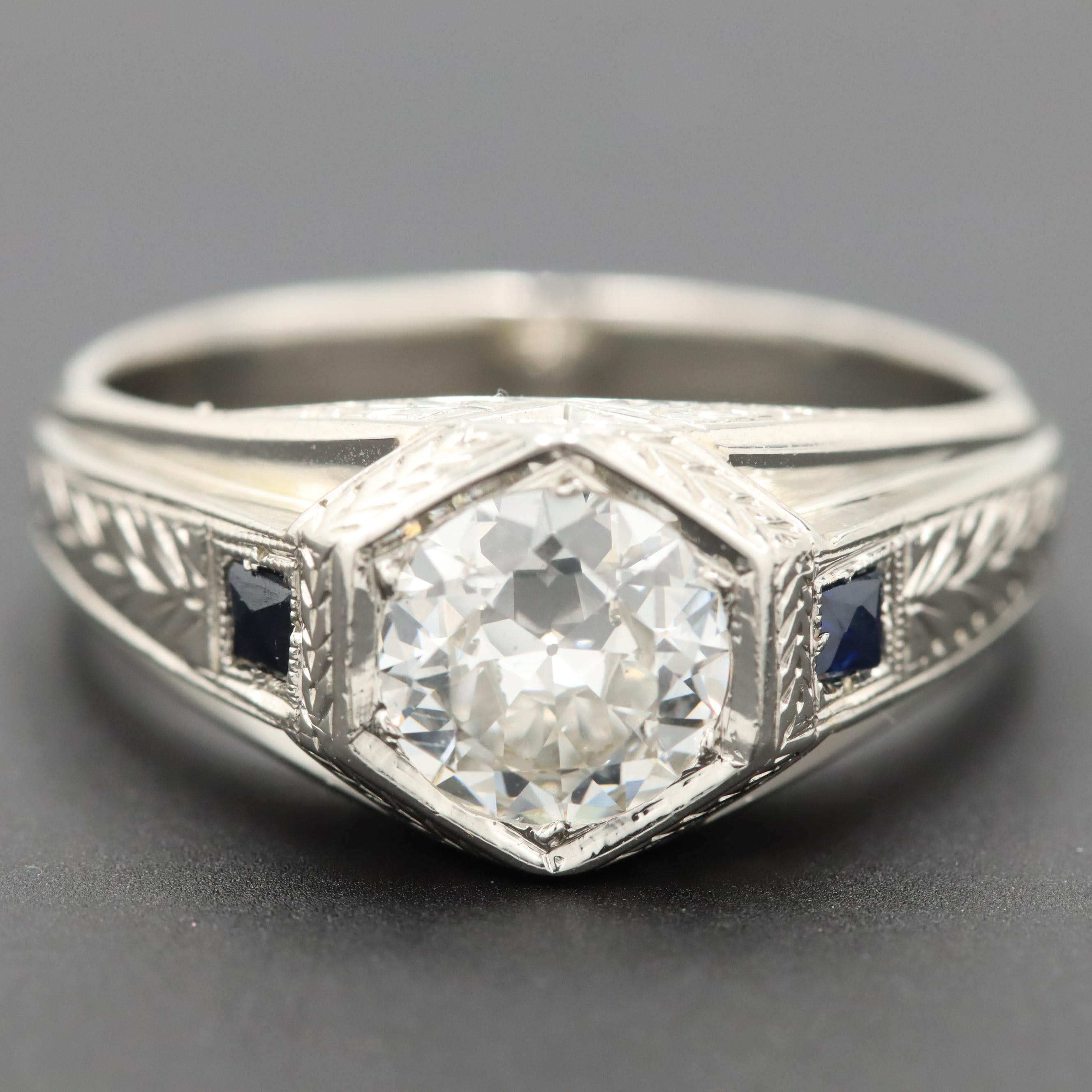 Art Deco 18K White Gold 1.22 CT Diamond and Synthetic Sapphire Ring