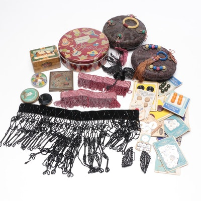 Beaded Garters, Trinket Boxes Other Grooming and Sewing Supplies