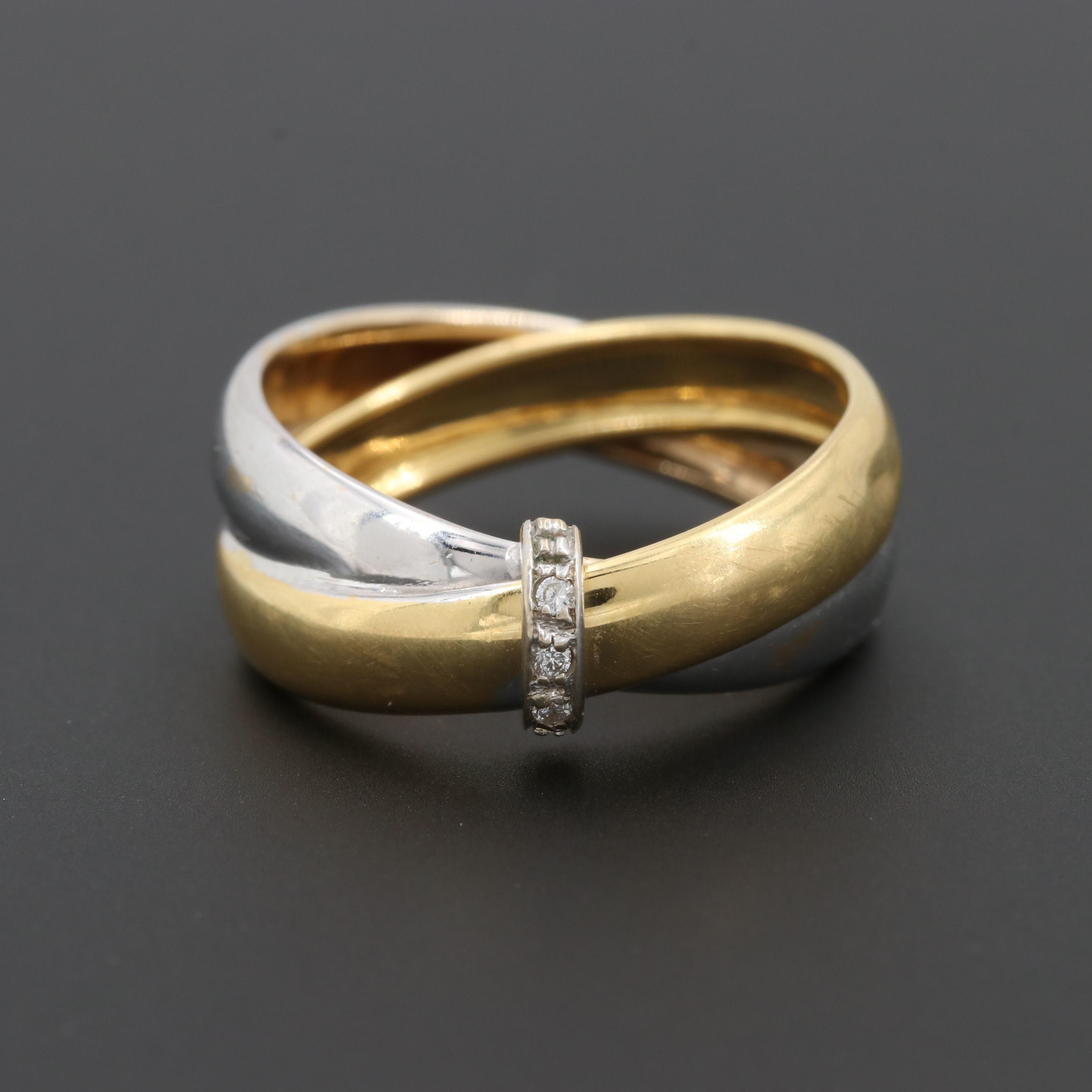18K White and Yellow Gold Diamond Crossover Ring