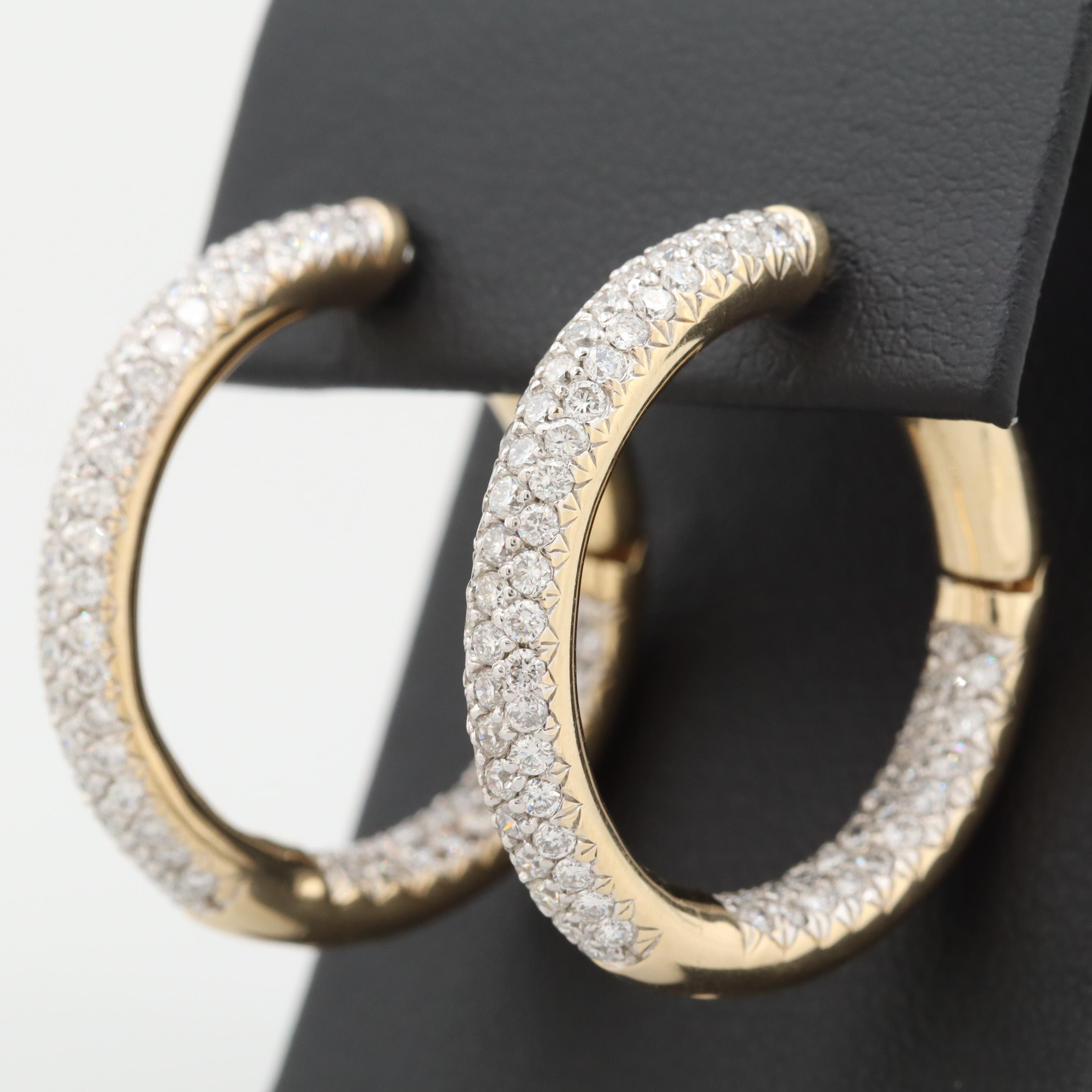 14K Yellow Gold 2.85 CTW Diamond Inside Out Huggie Hoop Earrings