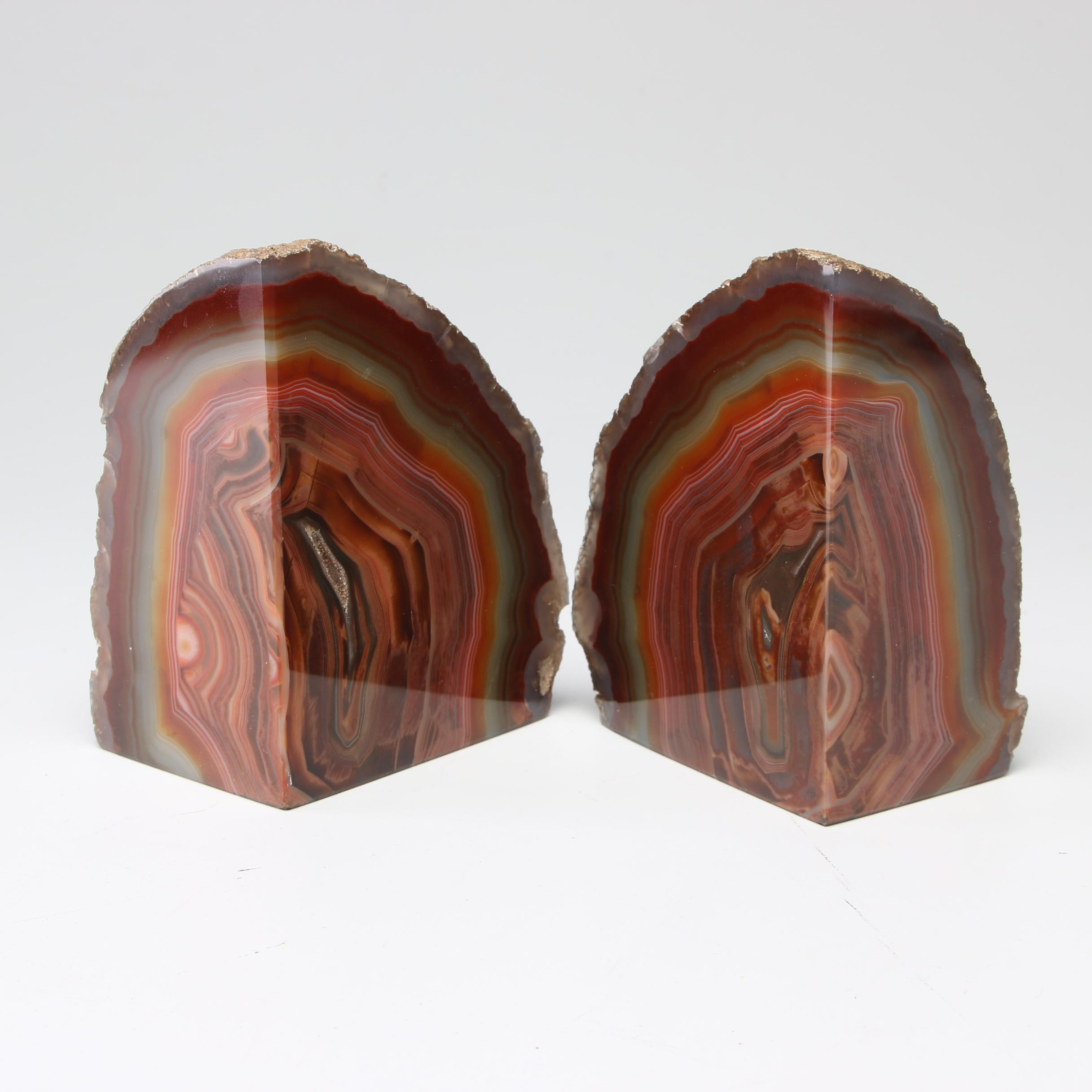 Natural Banded Agate Geode Bookends