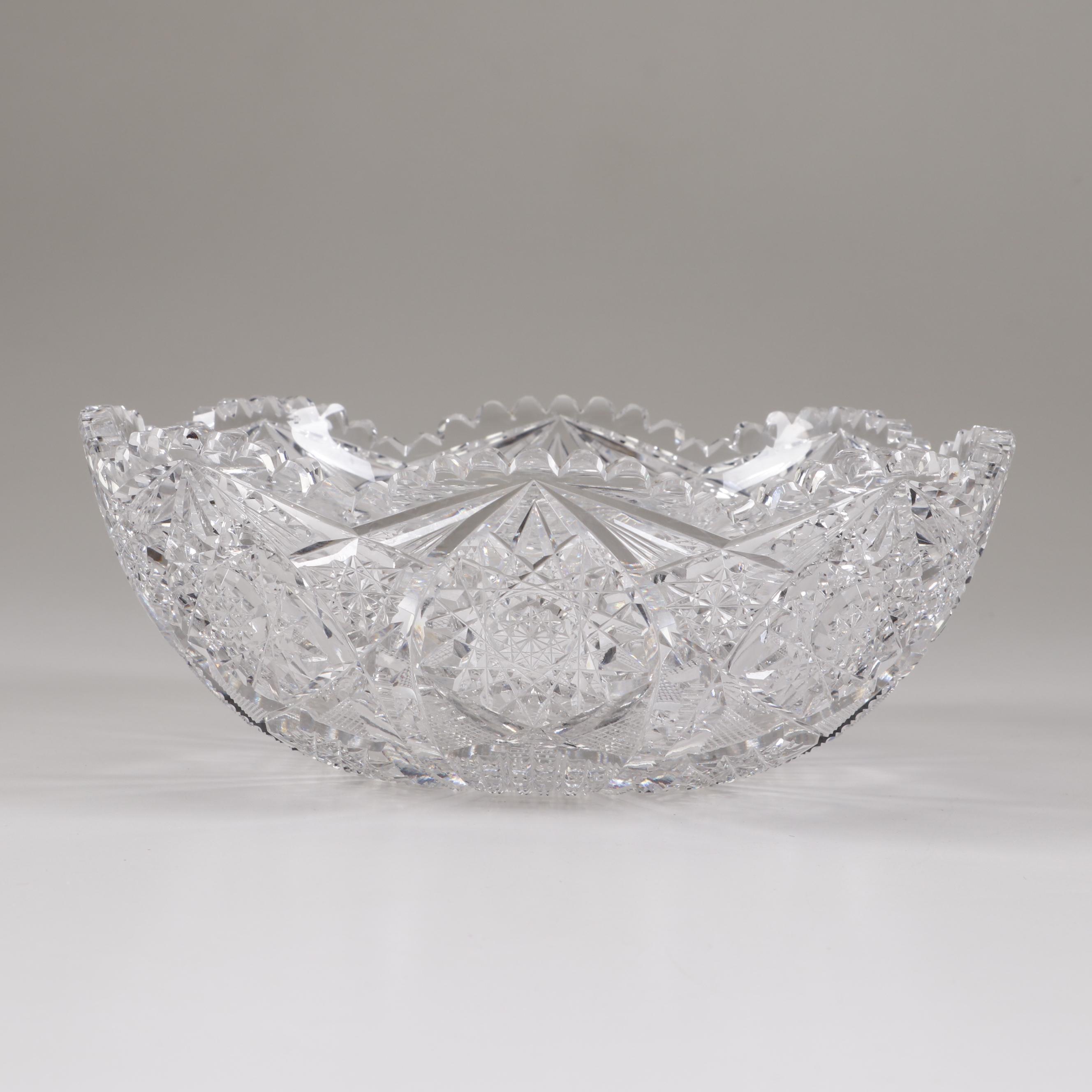 American Brilliant Period Cut Glass Bowl, Late 19th Century