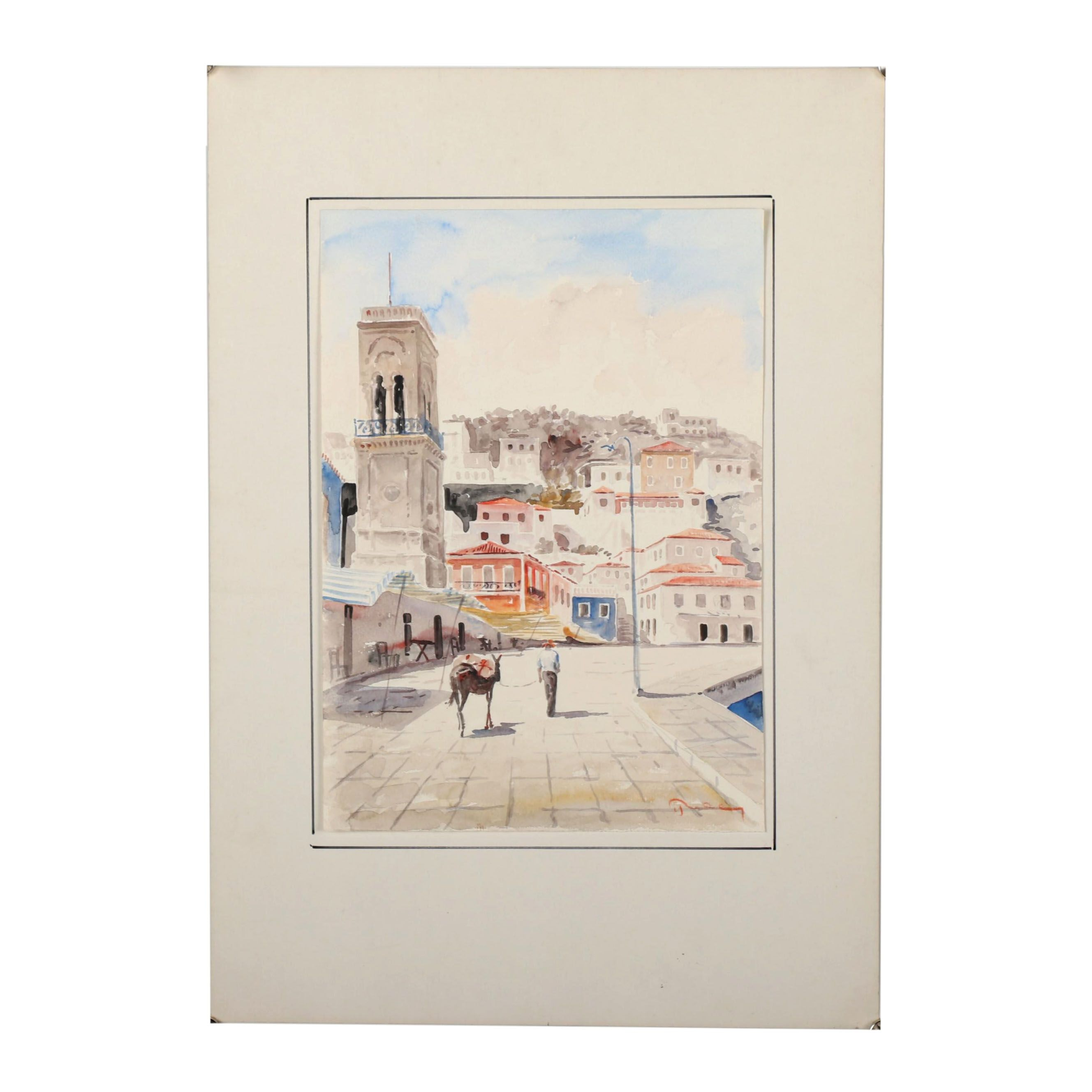 Late 20th Century Watercolor Painting of a Mediterranean Scene