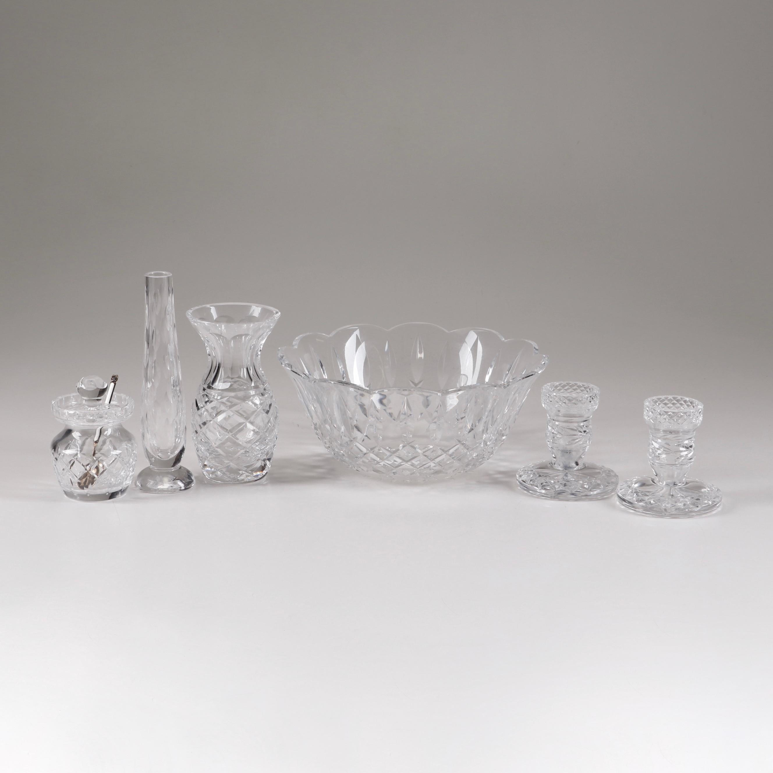 Waterford Crystal Vases, Candle Holders, Honey Jar and Other Tableware