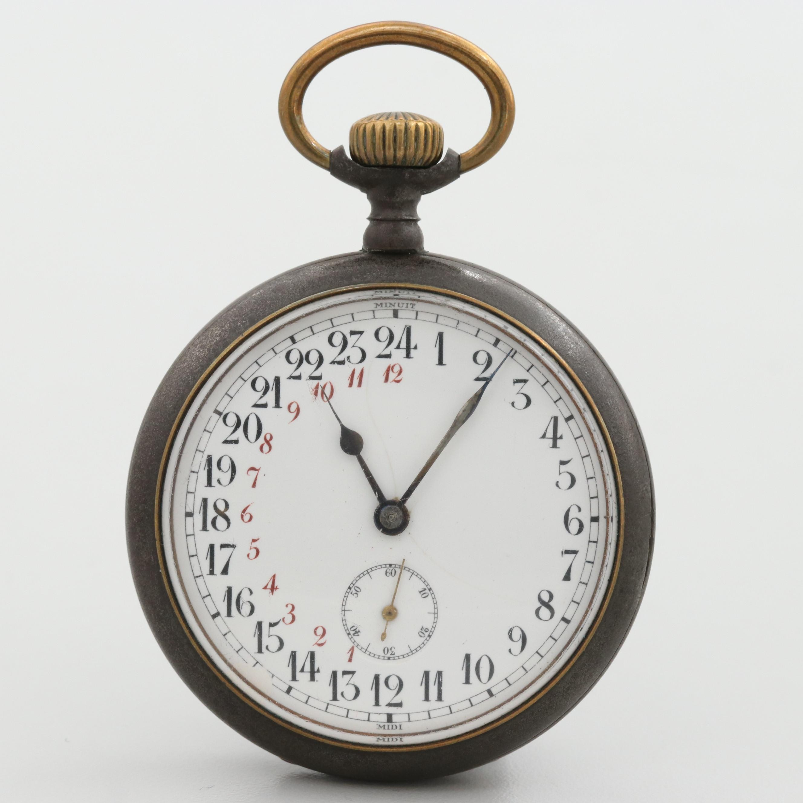 Antique Swiss Gunmetal Twenty Four Hour Dial Open Face Pocket Watch