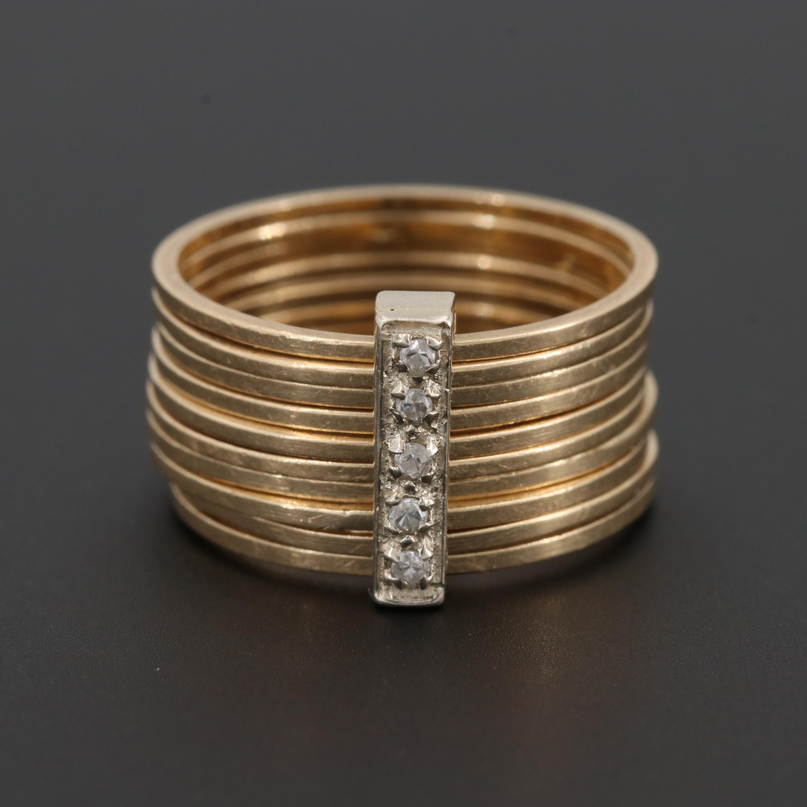 14K Yellow Gold Diamond Harem Ring with White Gold Accent