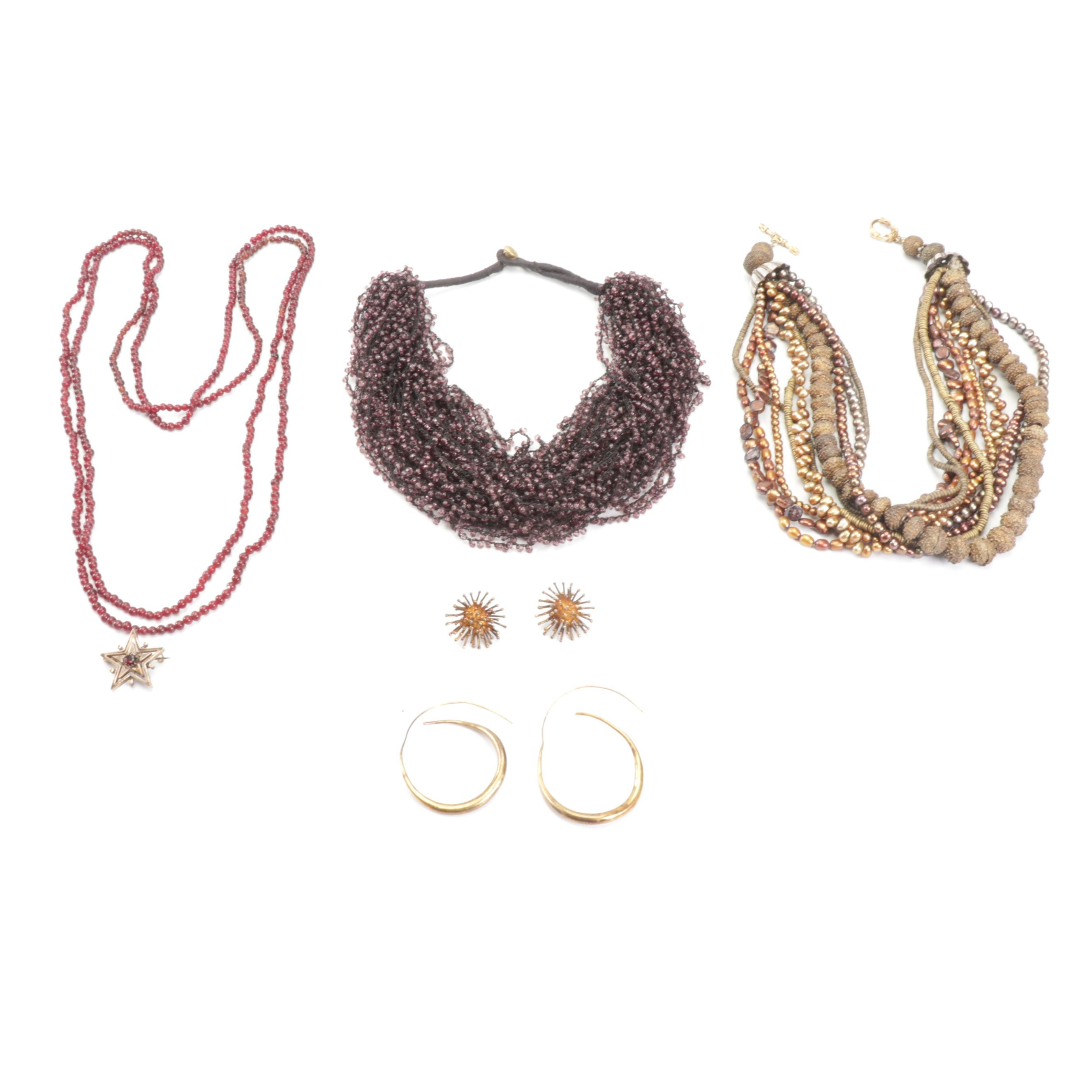 Multi-Strand Beaded Necklaces and Brass Tone Earrings