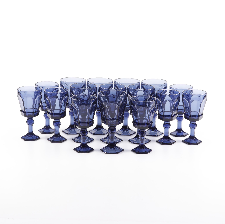 "Fostoria ""Virginia"" Dark Blue Glass Goblets"