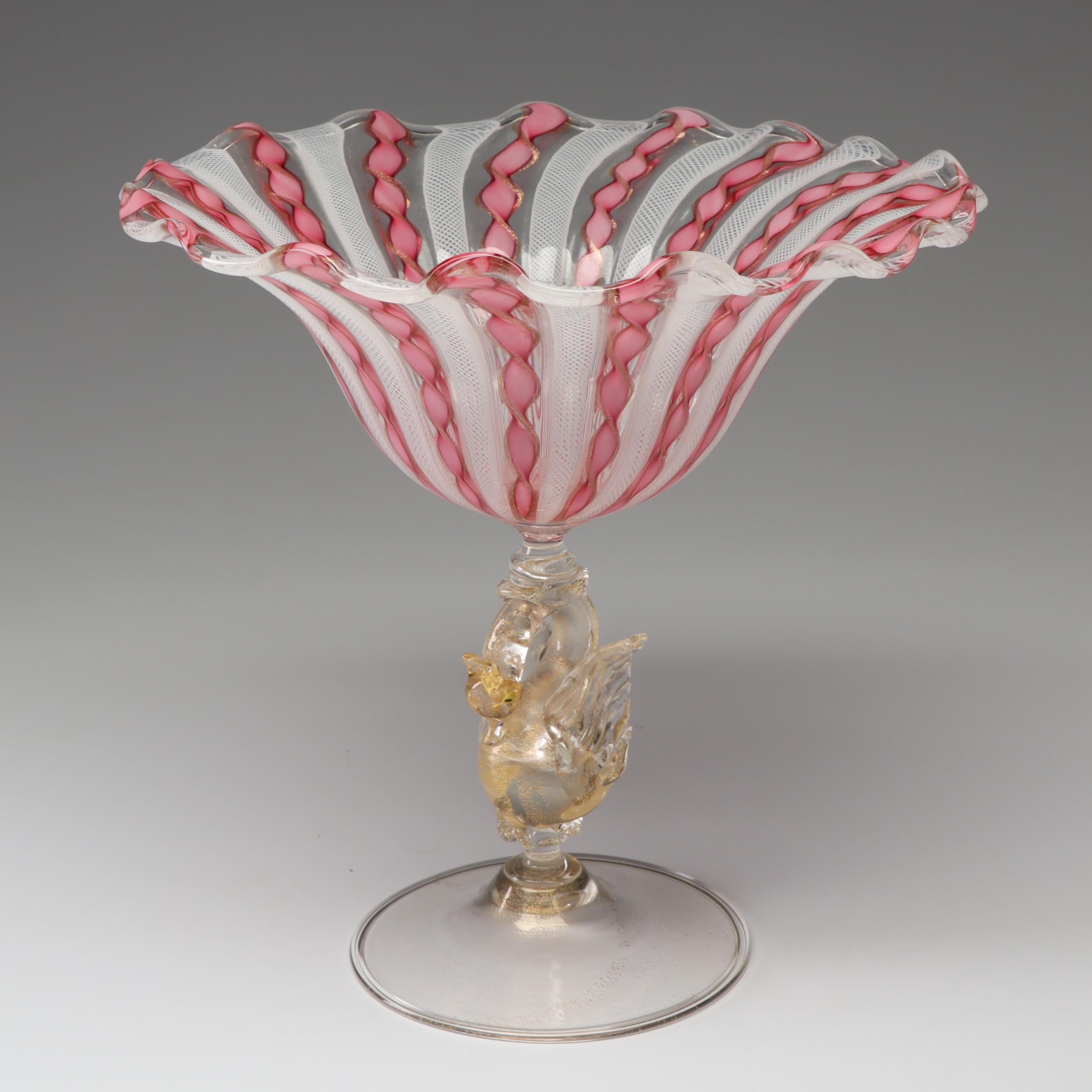Salviati Murano Style Blown Glass Compote, Early to Mid 20th Century