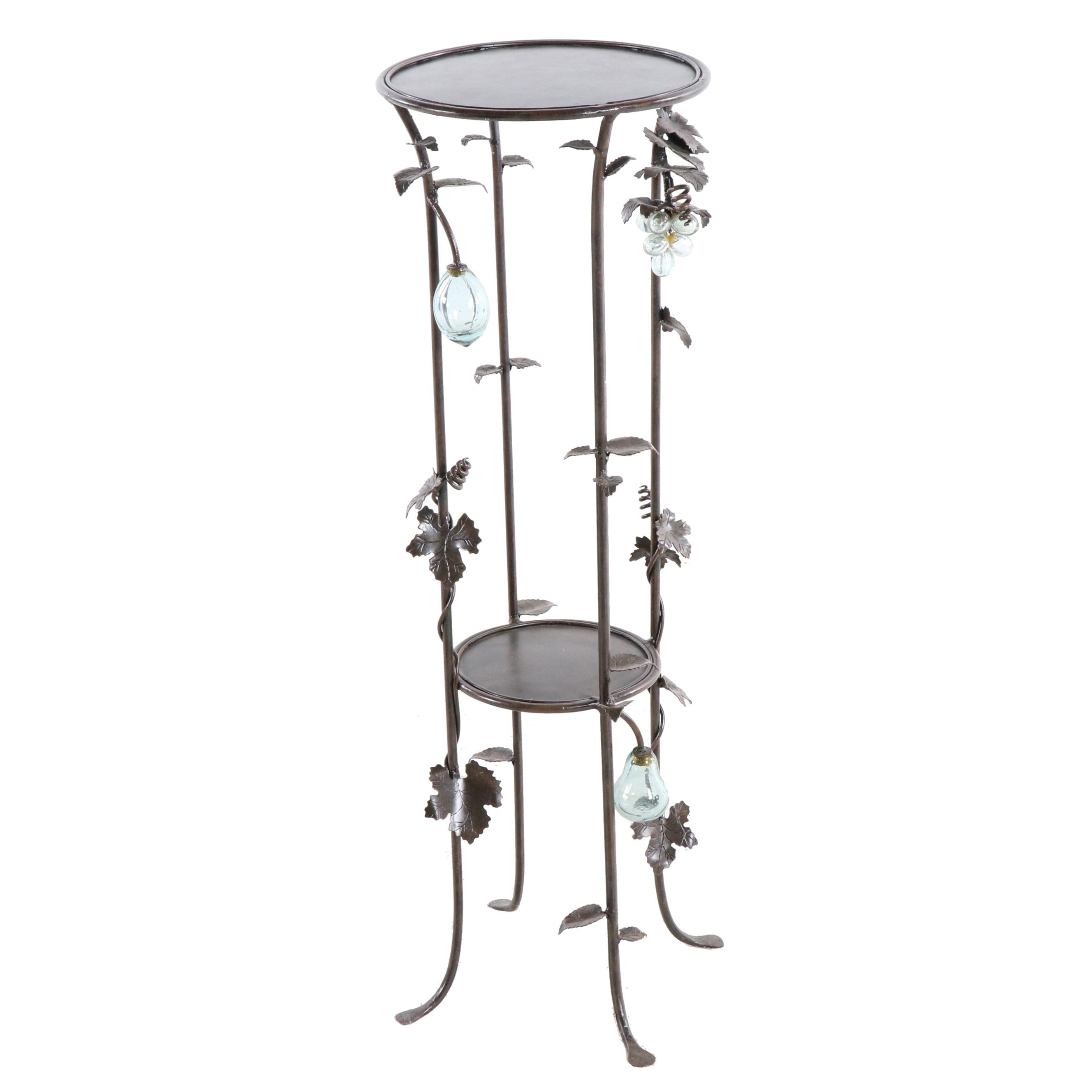 Metal and Glass Plant Stand, Contemporary