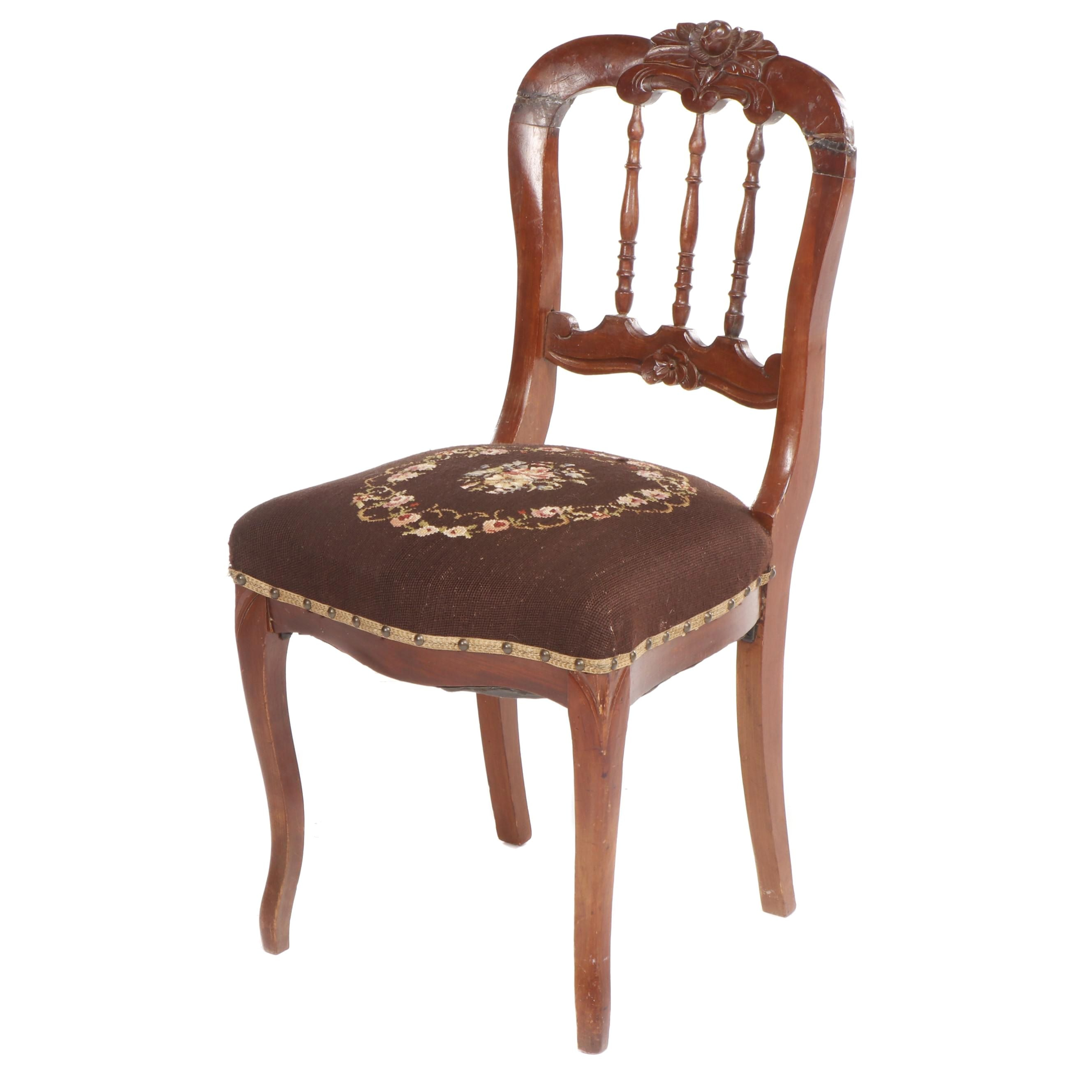 Victorian Carved Walnut Parlor Chair with Floral Needlepoint Upholstered Seat