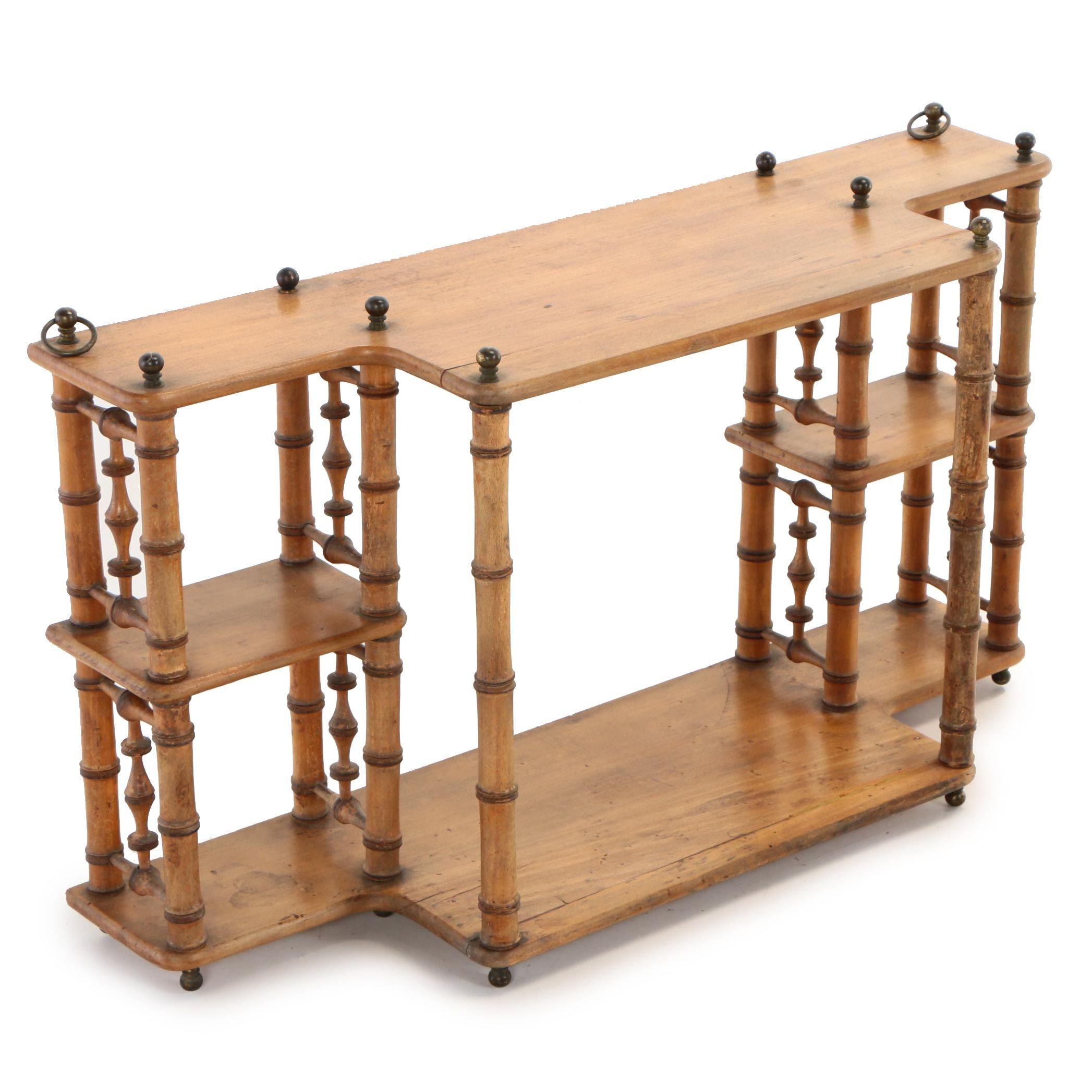 Aesthetic Movement Brass-Mounted & Faux-Bamboo Hanging Shelf, Late 19th Century