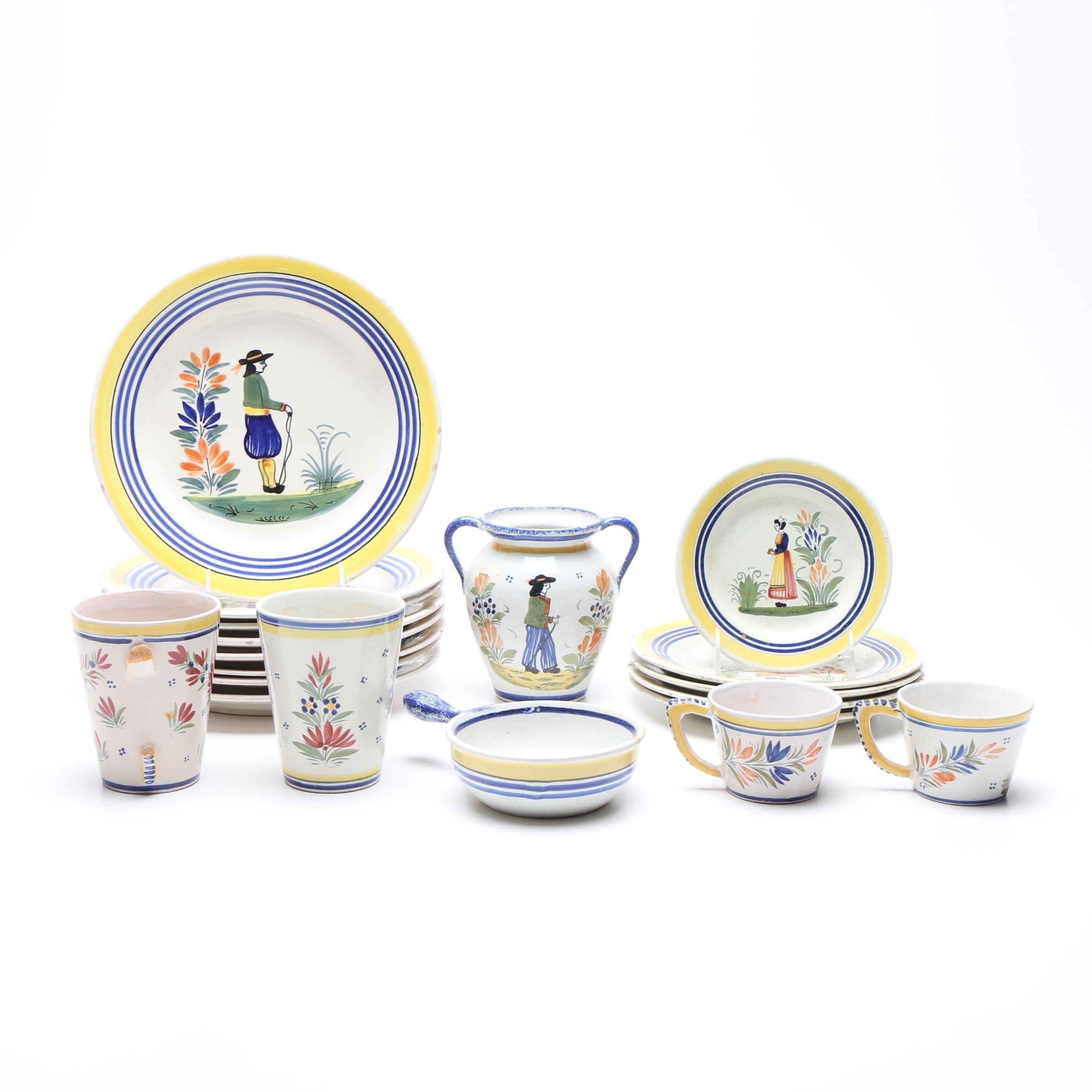 Henriot Quimper Hand-Painted Faïence Dinnerware
