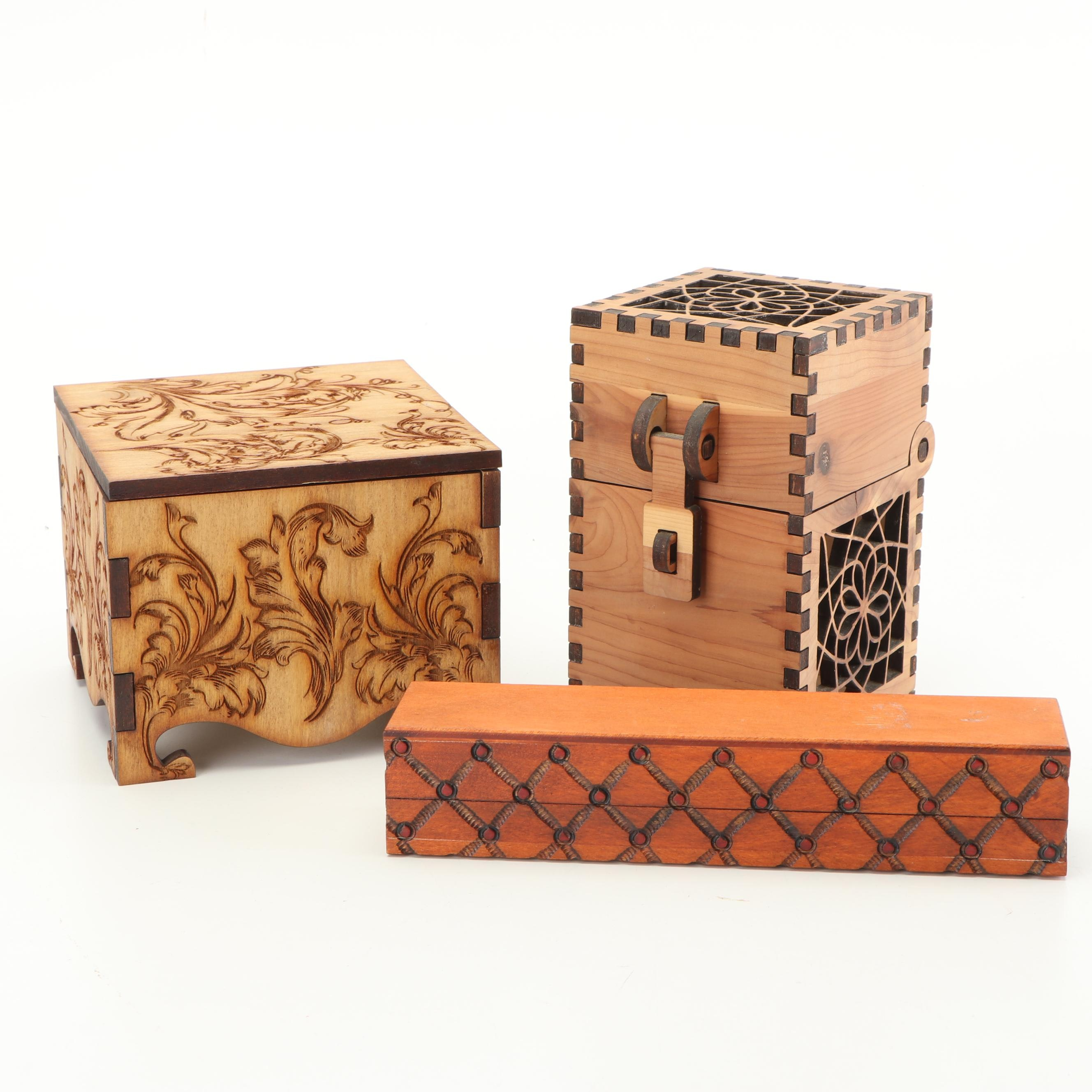 Decorative Carved and Laser Cut Wood Boxes