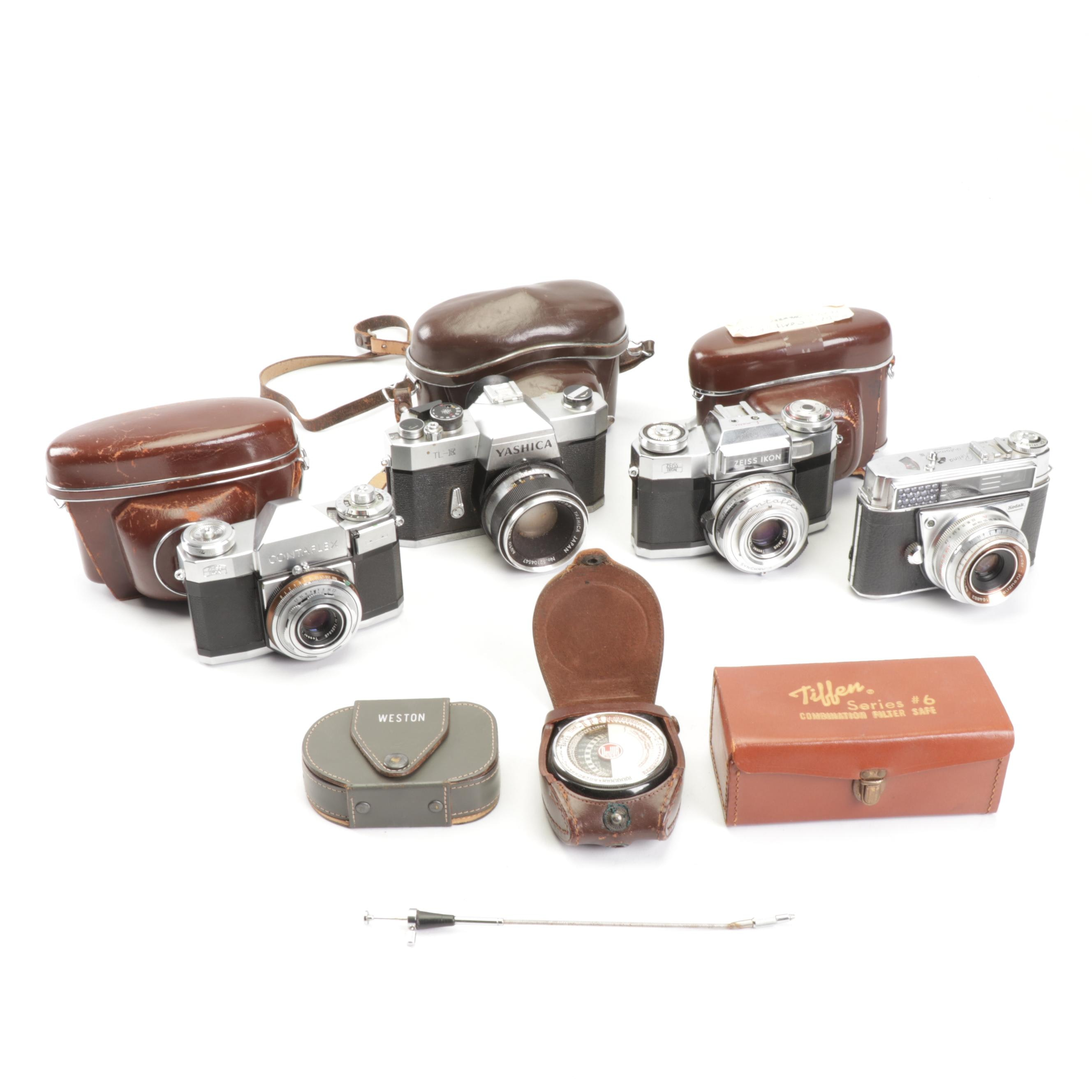 Vintage Cameras Including Zeiss Ikon and Kodak Retina