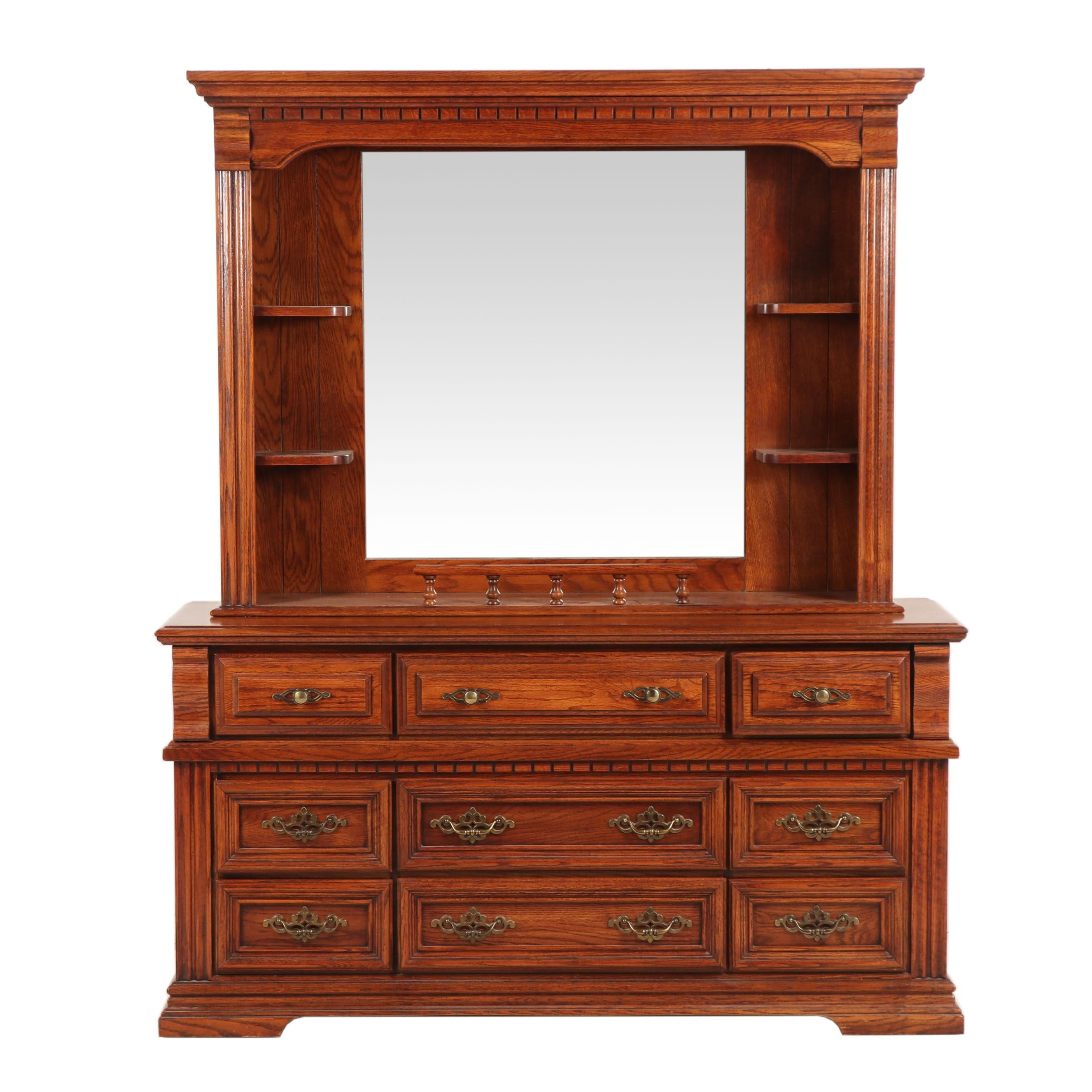 Oak Finish Wooden Dresser with Mirror, 1980s