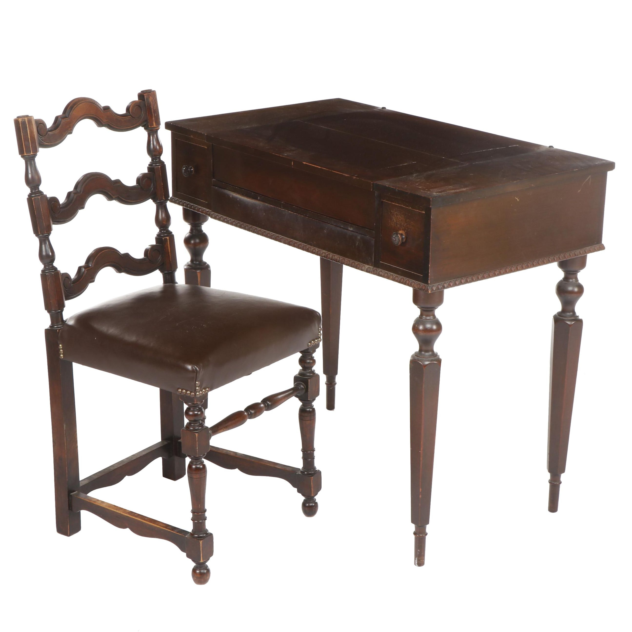 Walnut Escritoire Writing Desk with Inkwell, Mid Century