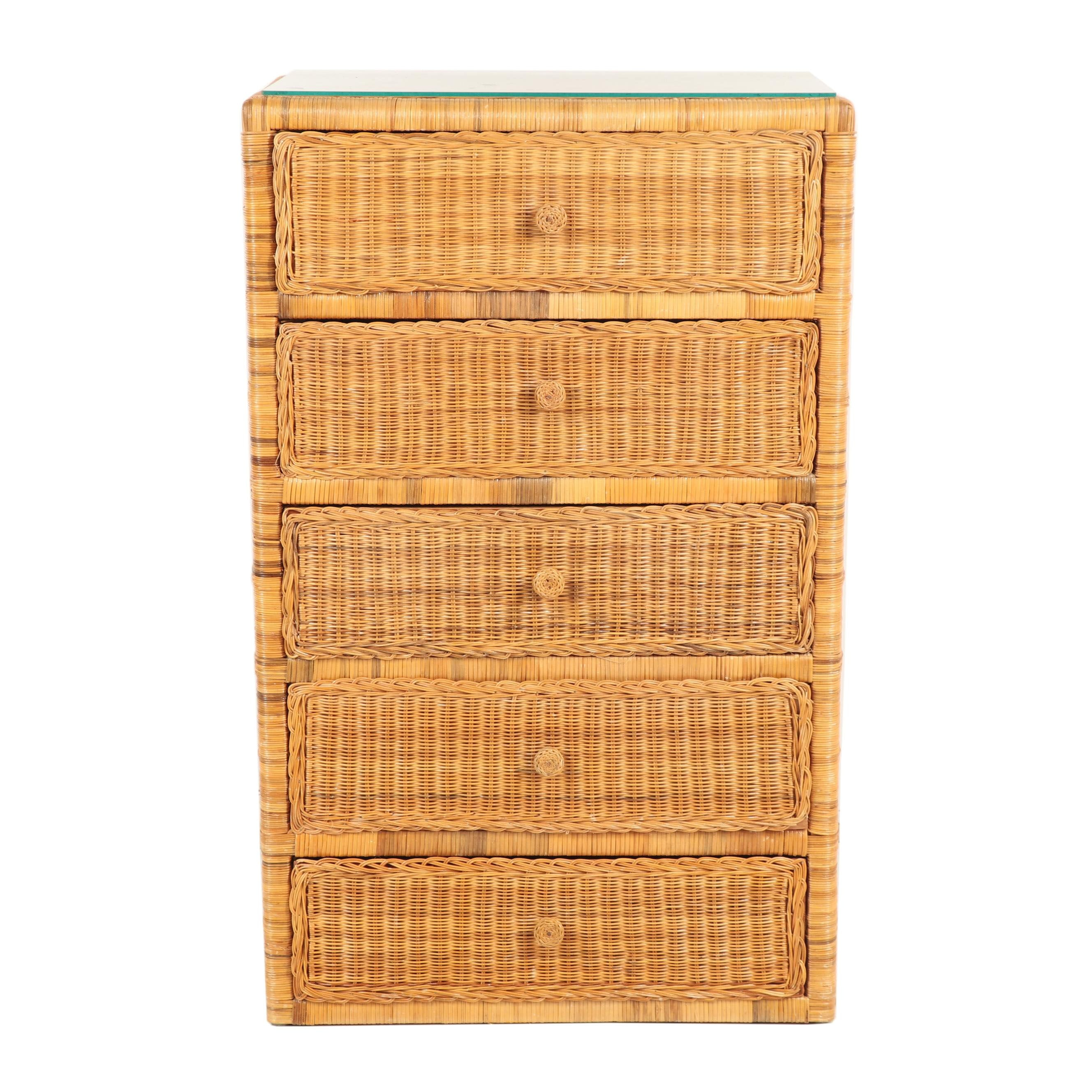 Contemporary Wicker Chest of Drawers with Glass Top
