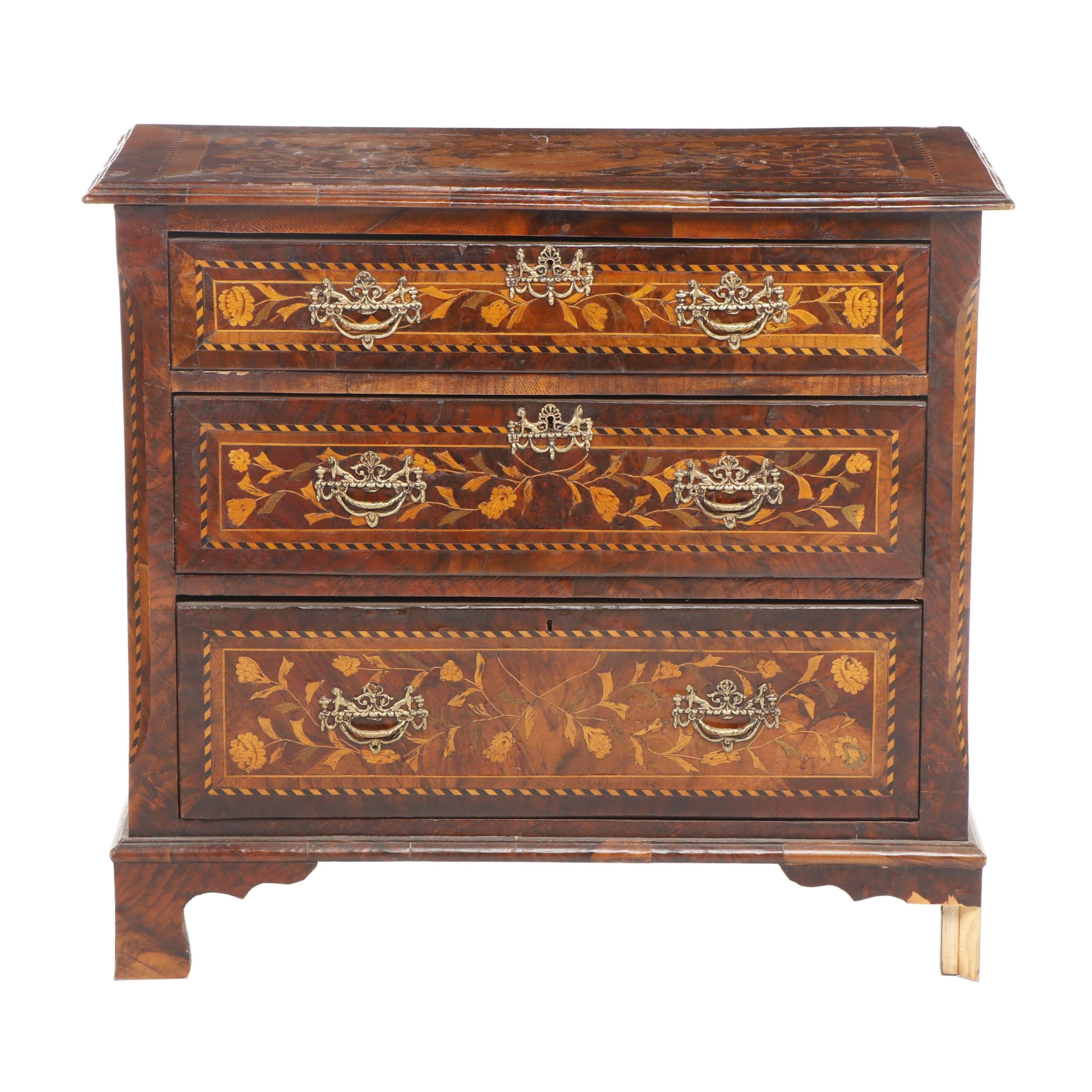 Dutch String-Inlaid and Marquetry Rosewood Chest of Drawers, Circa 1850