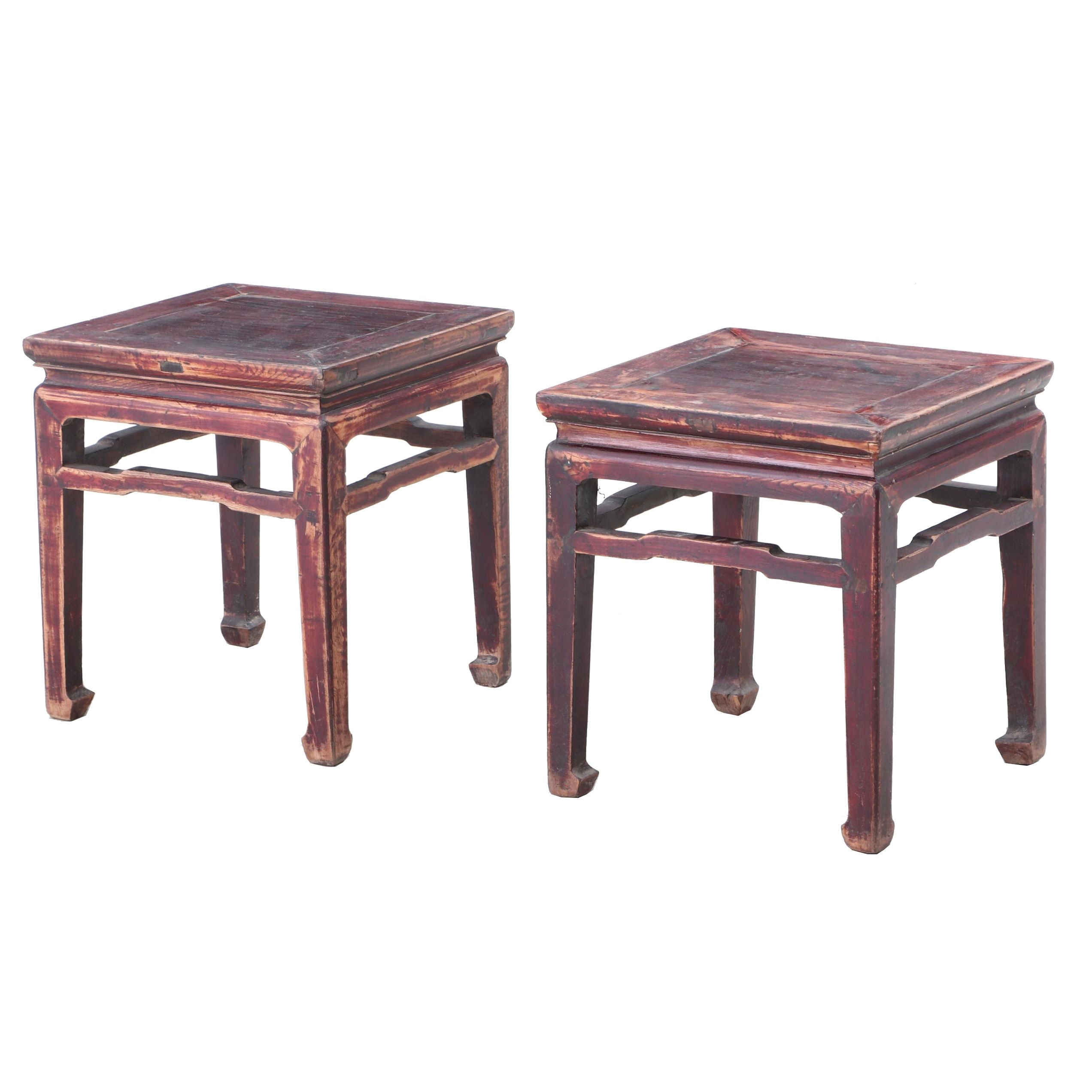 Chinese Red Washed Elm Wood End Tables, 20th Century