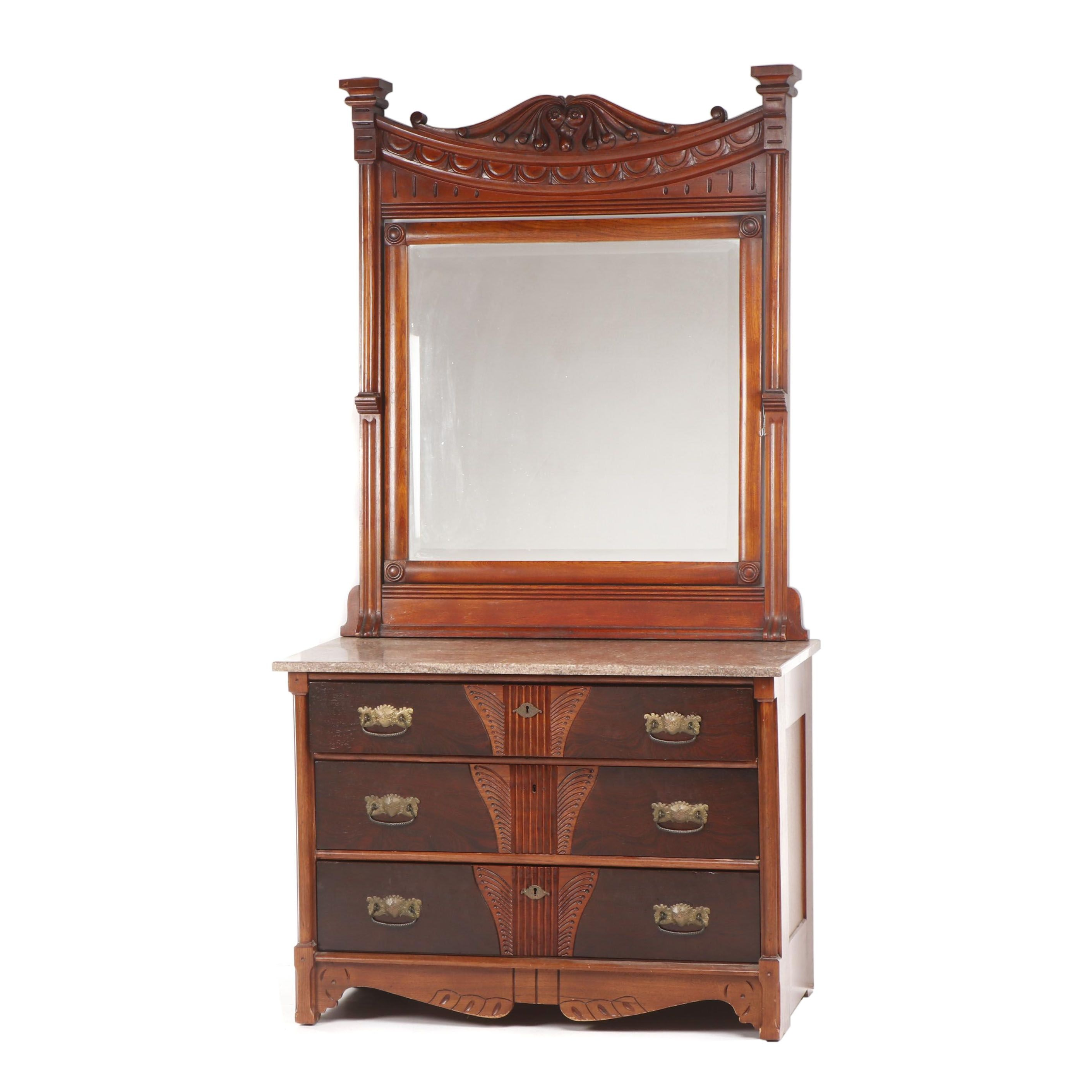 Victorian Walnut and Rosewood Chest of Drawers with Mirror & Marble Top, 19th C