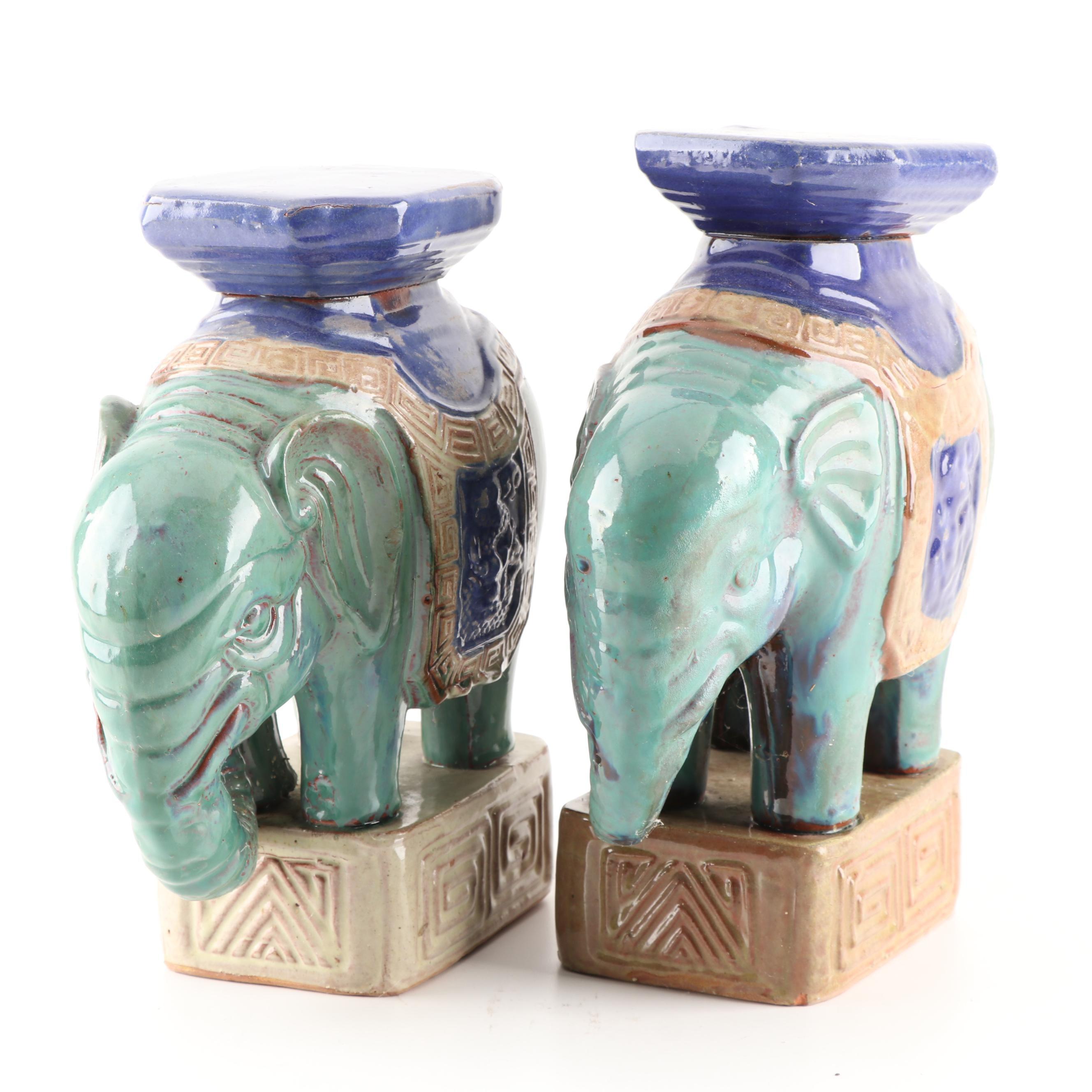 Glazed Terracotta Elephant Plant Stands