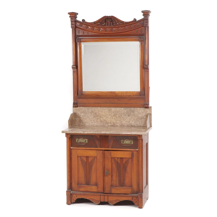 Victorian Marble Top Walnut Dressing Table with Mirror, Midwestern, Circa 1890