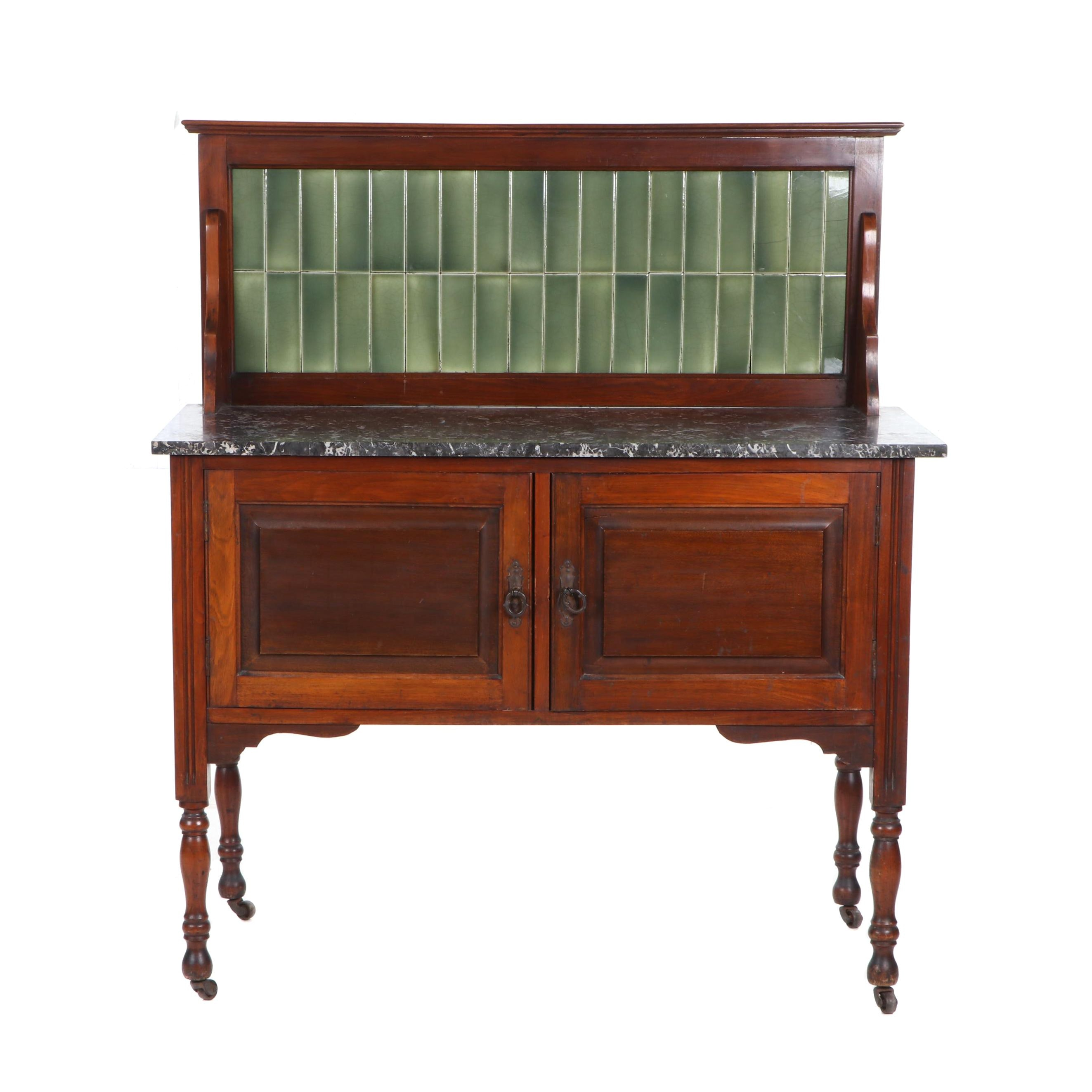 Early 20th Century Mahogany Tile-Back Server with Marble Top