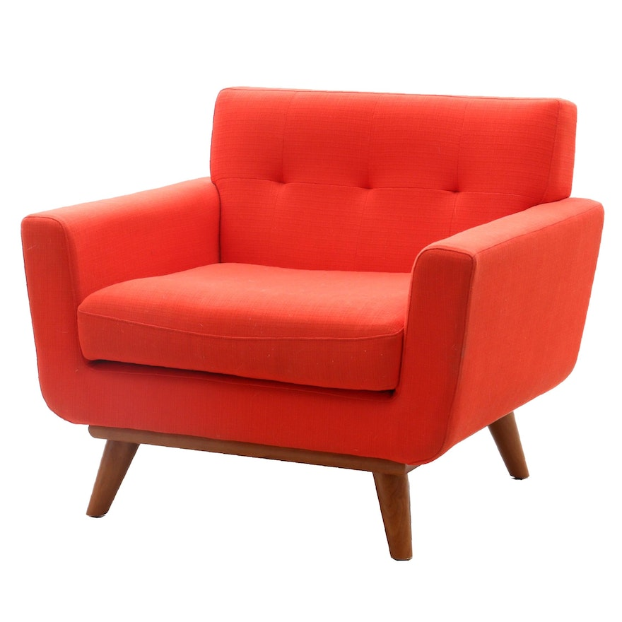Mid Century Modern Style Upholstered Arm Chair in Red by Modway, Contemporary