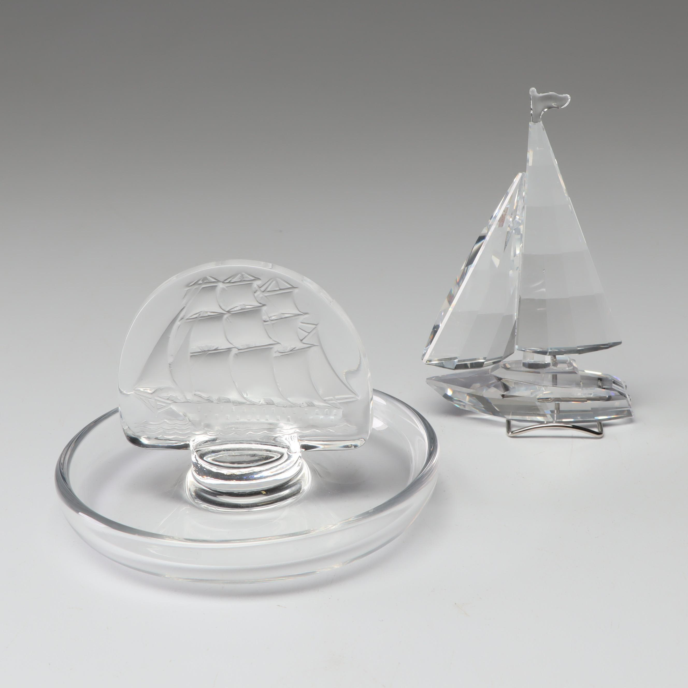 Sailboat Themed Lalique Crystal Ring Holder and Swarovski Crystal Figurine