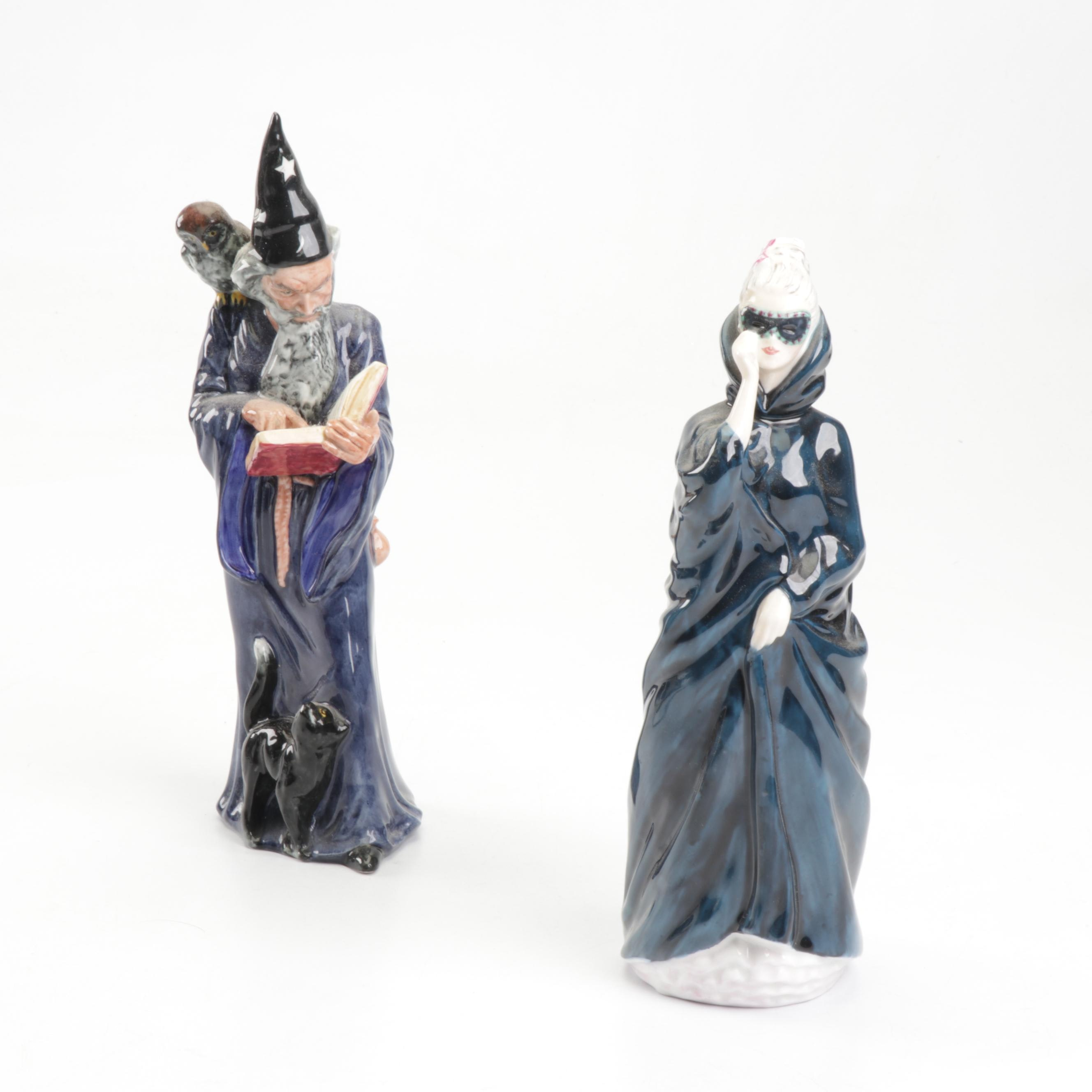 "Royal Doulton ""Masque"" and ""The Wizard"" Figurines, 1970s"