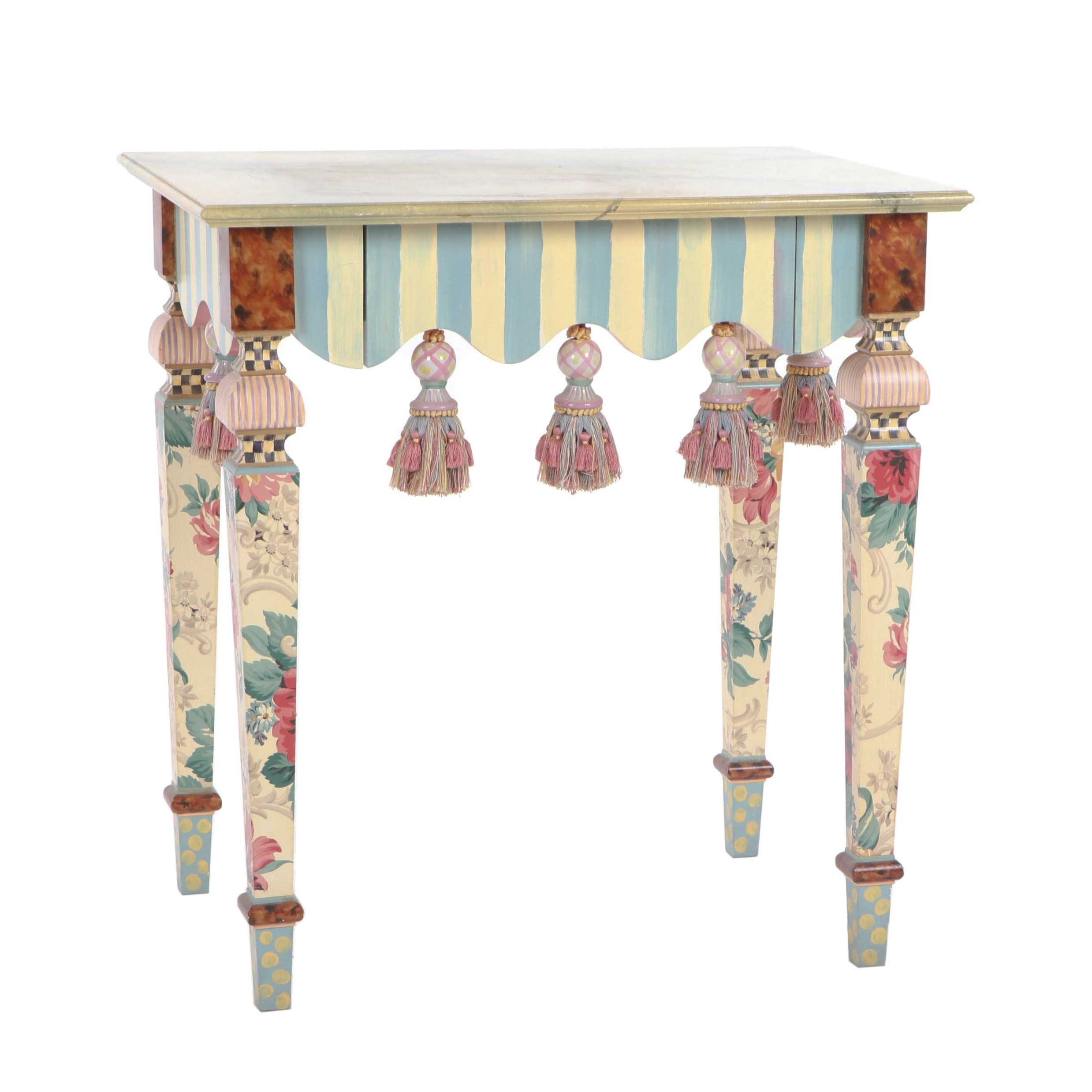 MacKenzie-Childs Marble Effect Painted Beech Side Table