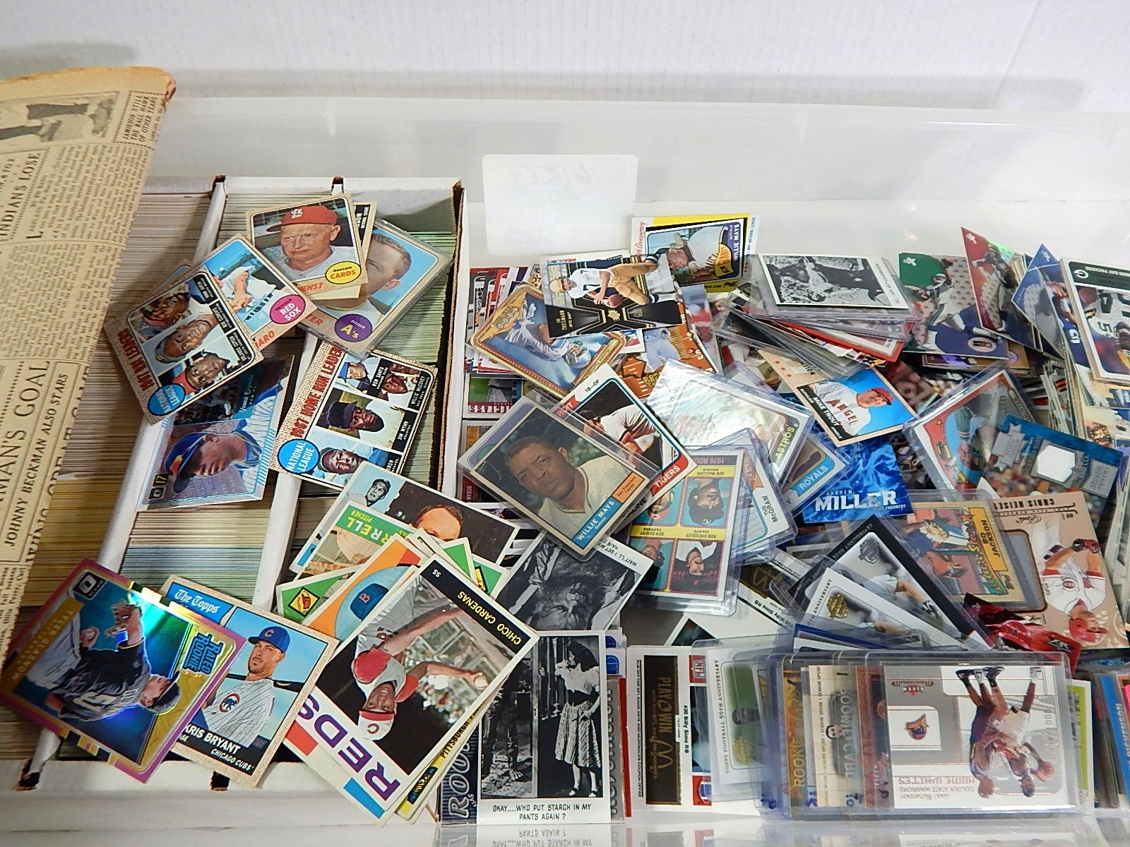Tub of Mostly Baseball and Some Football Sports Cards, 1961 Topps W.Mays #150