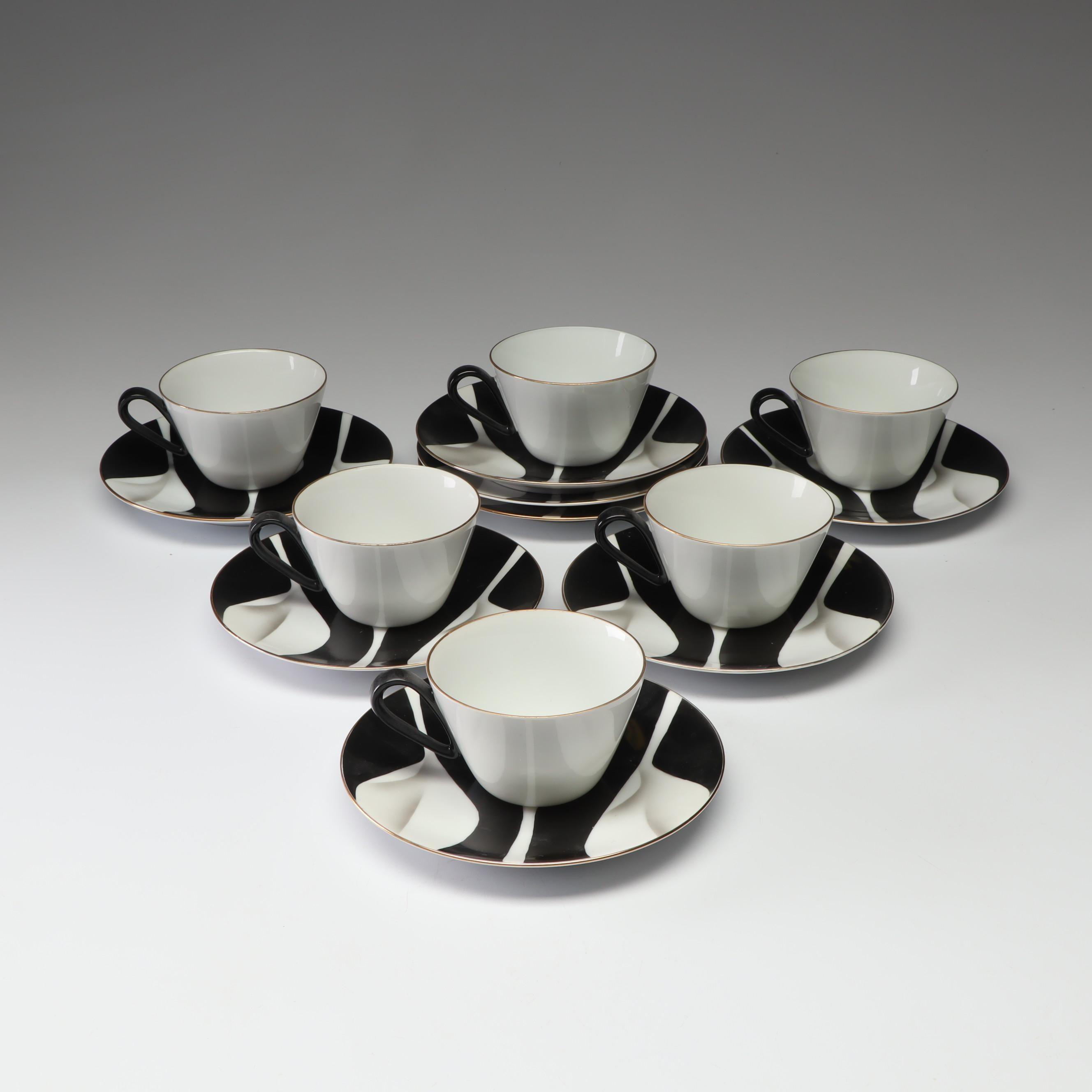 Koran Kogei Porcelain Cups and Saucers