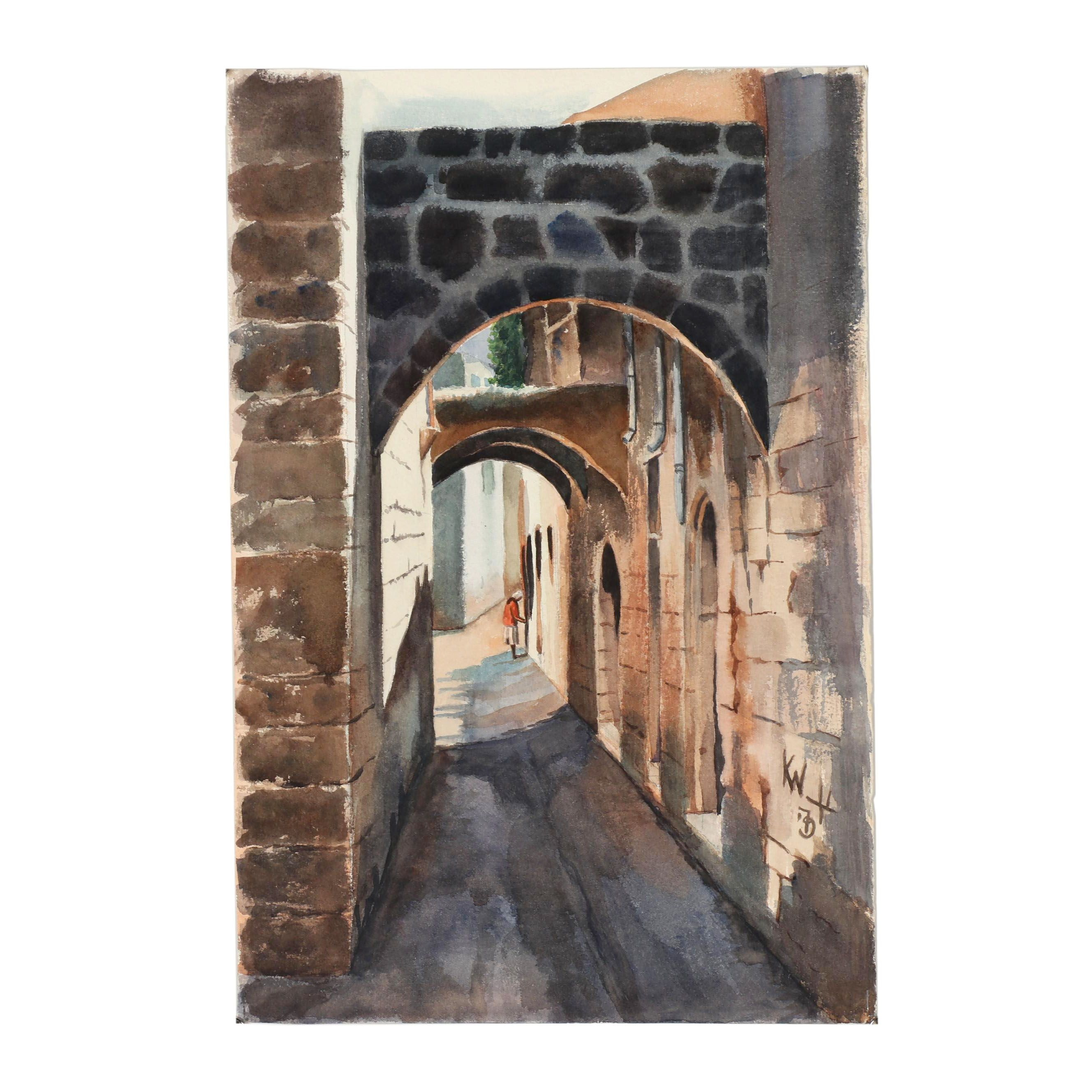 Late 20th Century Watercolor Painting of an Alleyway