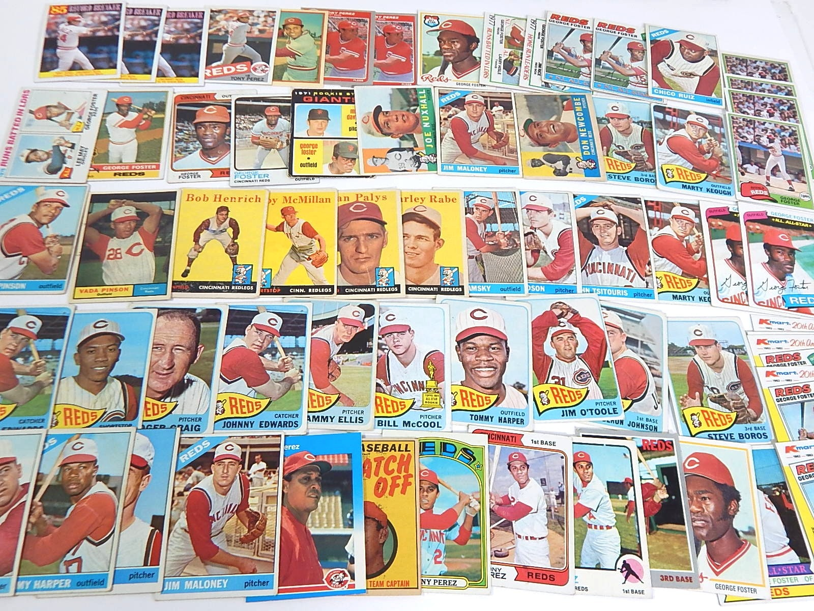 1950s to 1980 Cincinnati Reds Baseball Card Collection - Over 65 Ct.