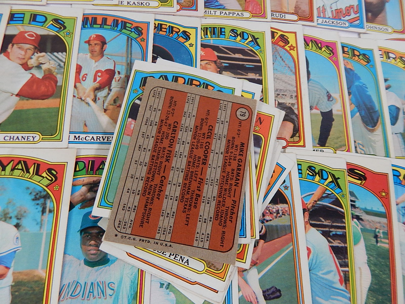 1972 Topps Baseball Cards With Carlton Fisk Rookie #79