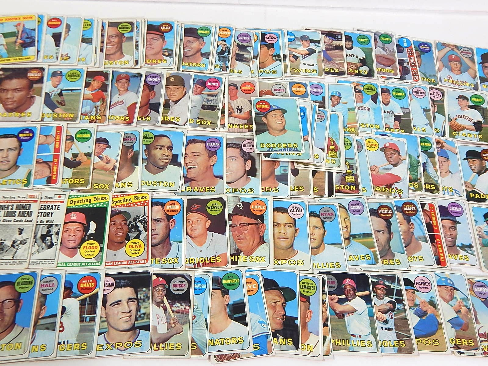1969 Topps Baseball Cards with Ted Williams, Don Drysdale, Rookies - Over 100 Ct