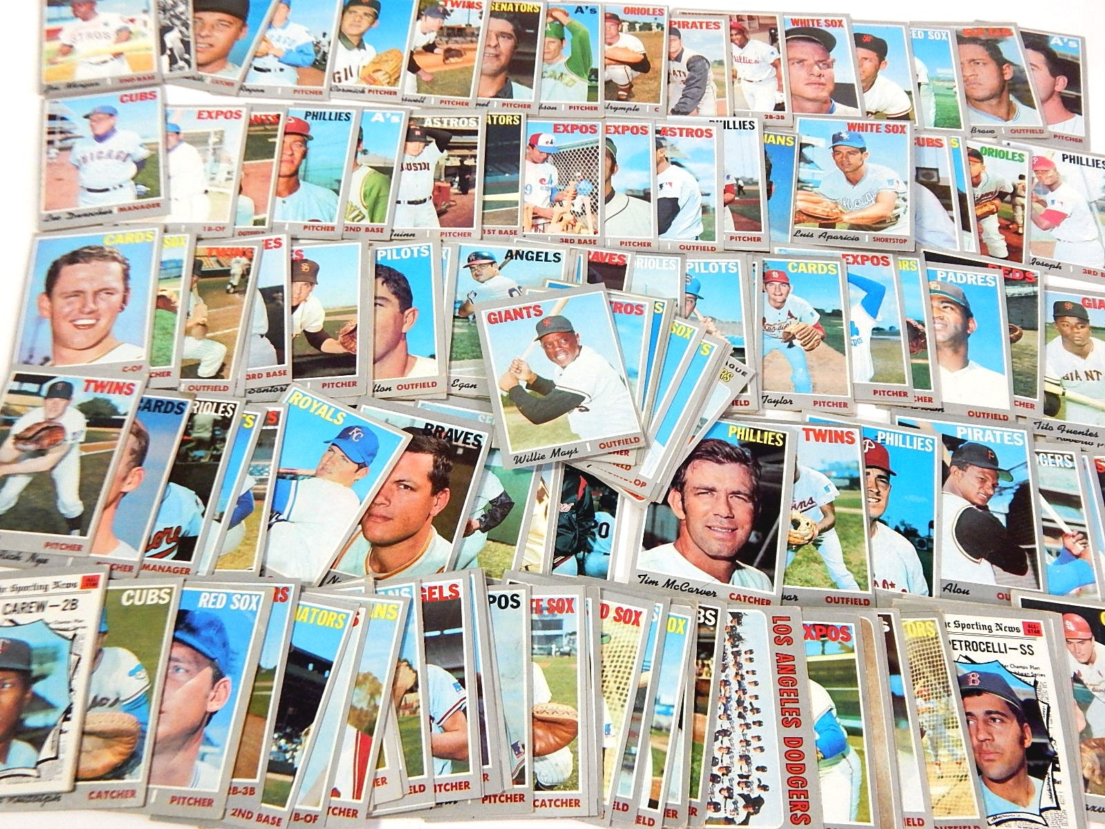1970 Topps Baseball Cards with W. Mays #600, Morgan, Carew - Over 130 Ct.